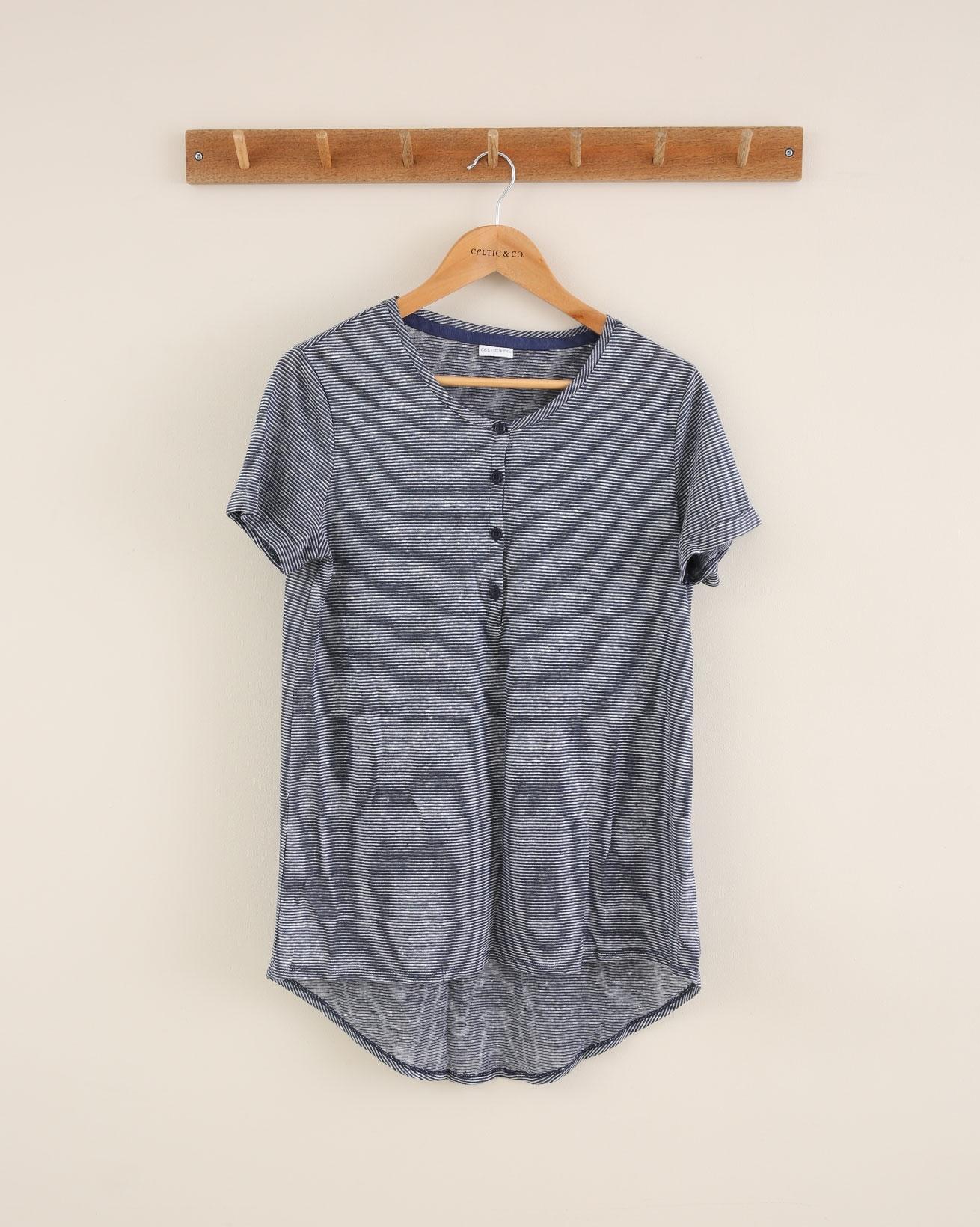 Linen Short Sleeve Henley Top - Size 8 - Blue Microstripe - 1706