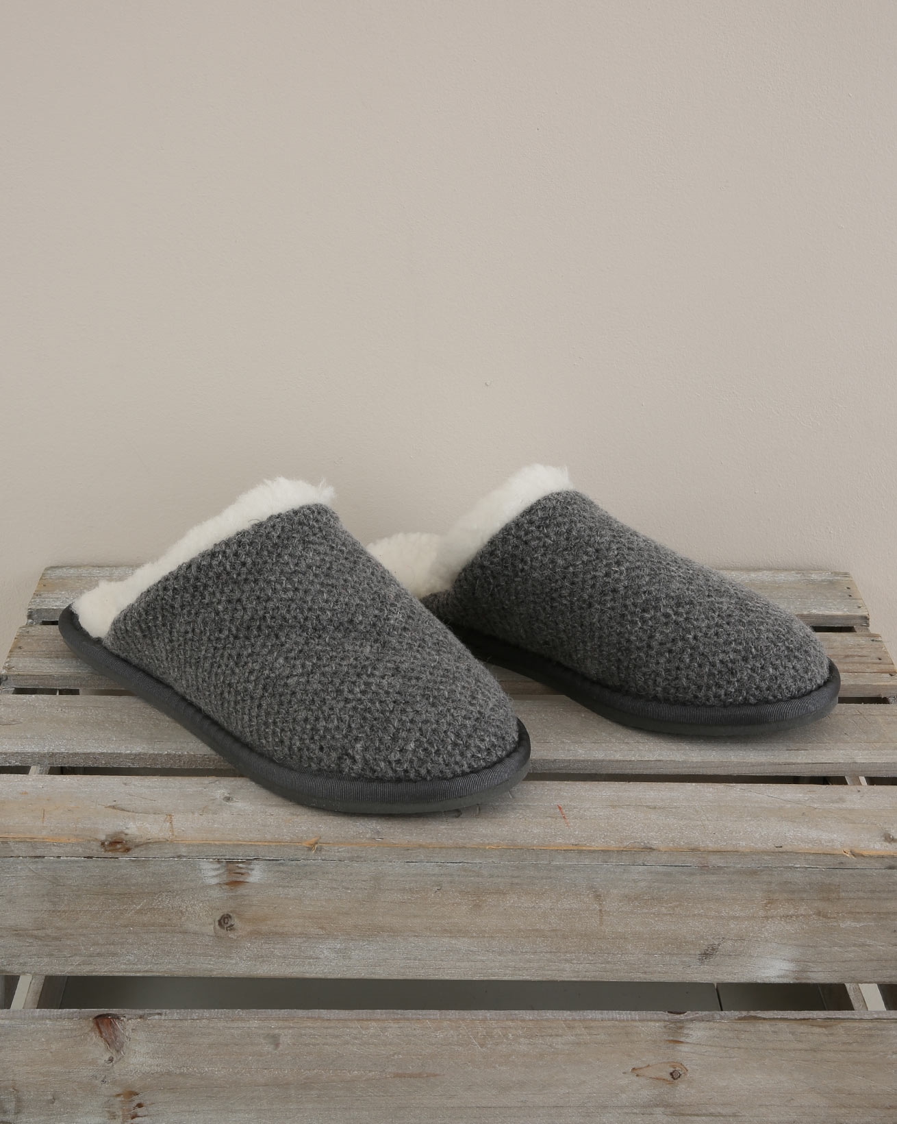 Knitted Mules - Size 6 - Derby Grey - 1716
