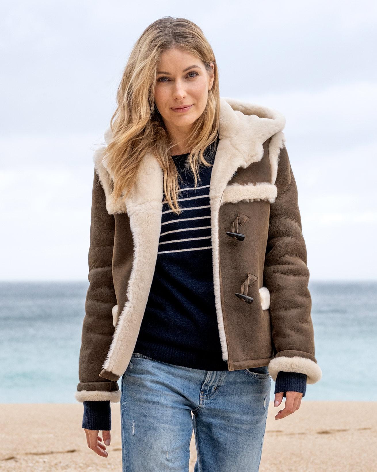 Hooded Sheepskin Duffle Jacket