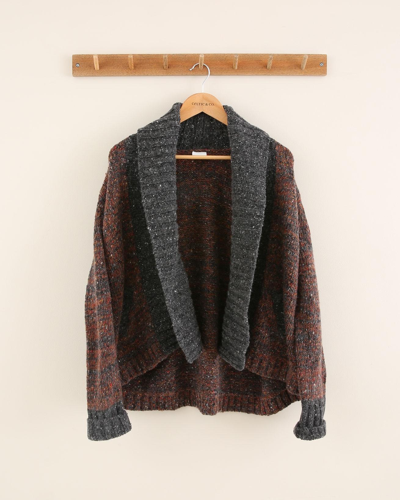 Shawl Collar Cardigan - Size Medium - Rust/Charcoal Mix - 1762