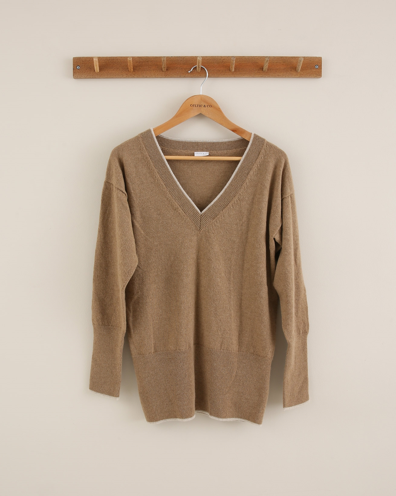 Supersoft V neck jumper - Size Small - Autumn Brown Tipped - 1764