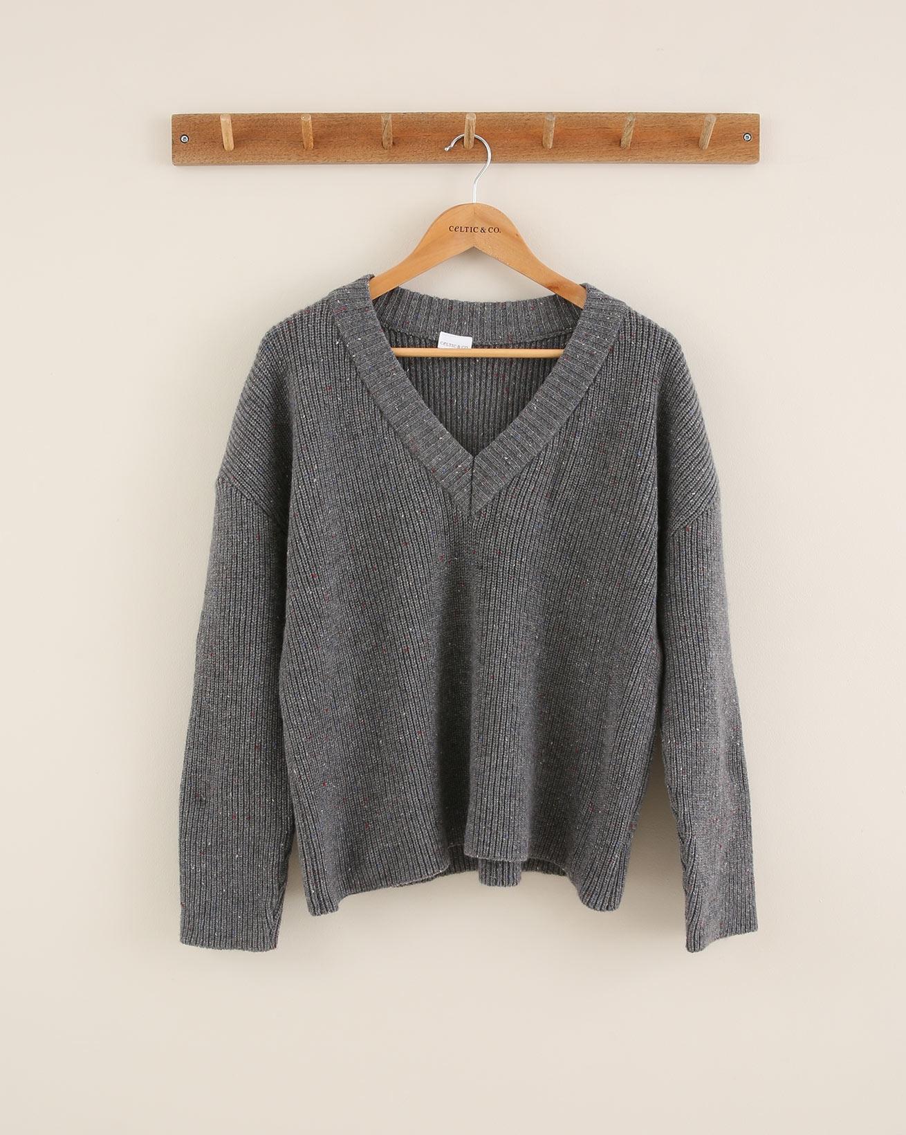 Knitted V Neck Jumper - Size Medium - Grey Mix - 1765