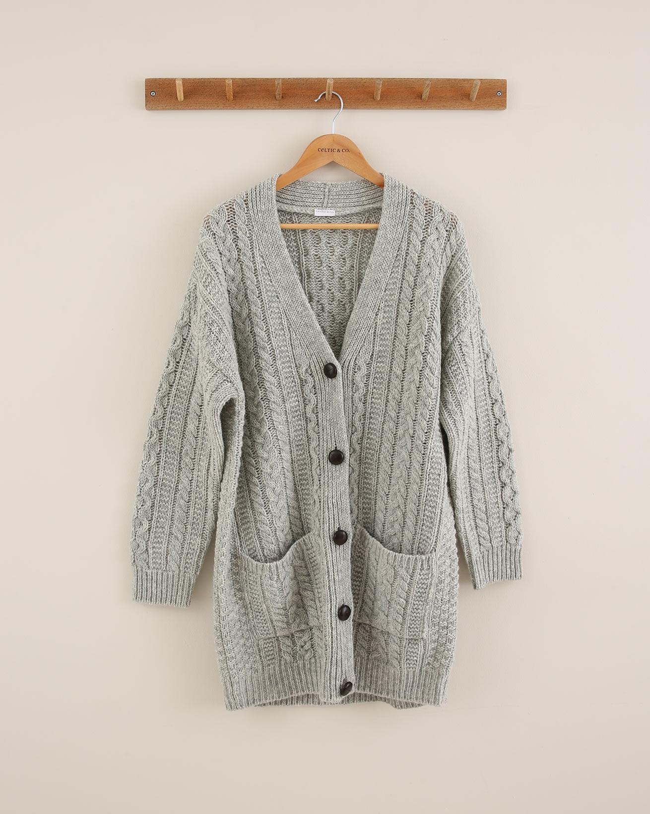 Cable Boyfriend Cardigan - Size Small - Silver Grey - 1766