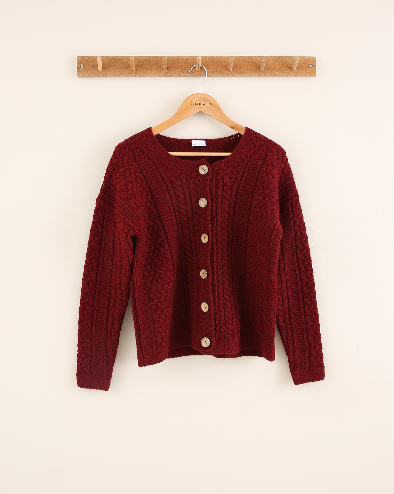 Cable Cardigan - Size Small - Claret - 1768