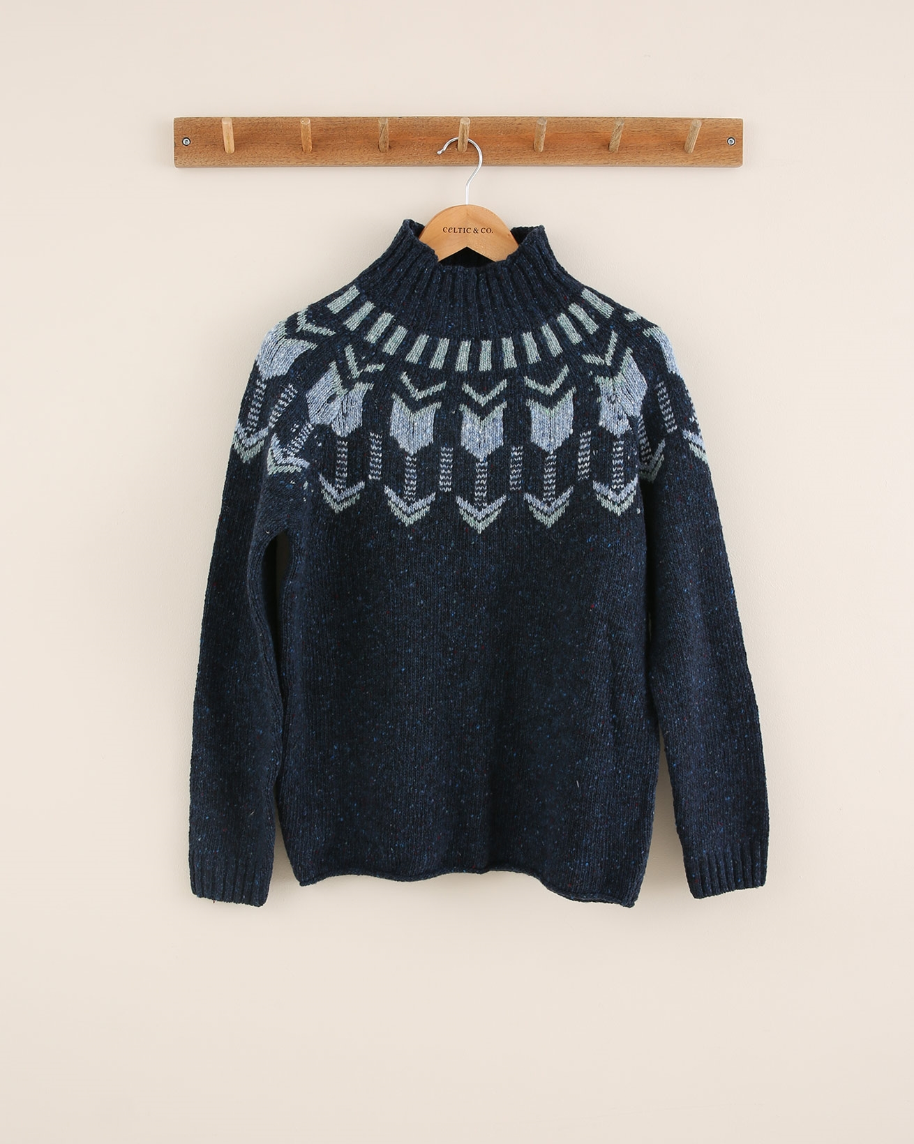 Fair Isle Funnel Neck - Size Medium - Navy Mineral - 1772