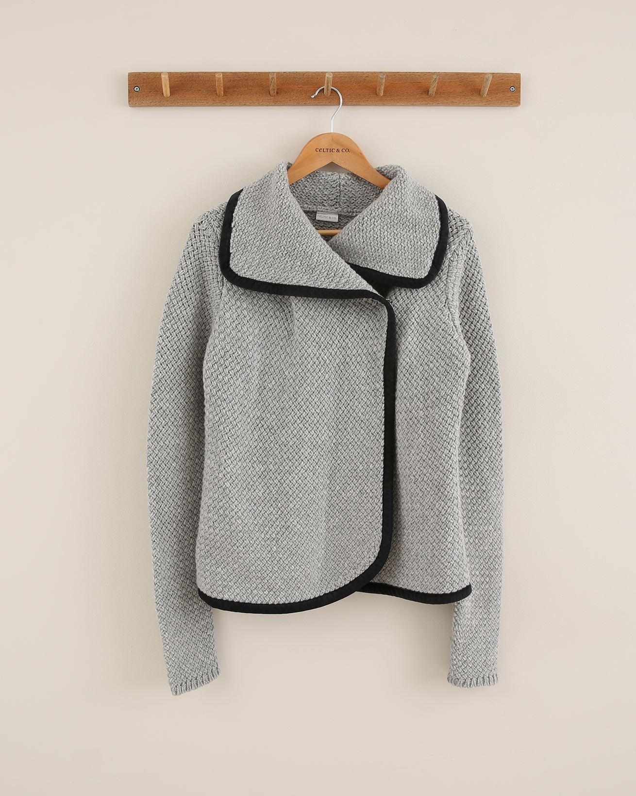 Stitch Detail Leather Trim Coatigan - Size Small - Silver Grey/Black - 1781