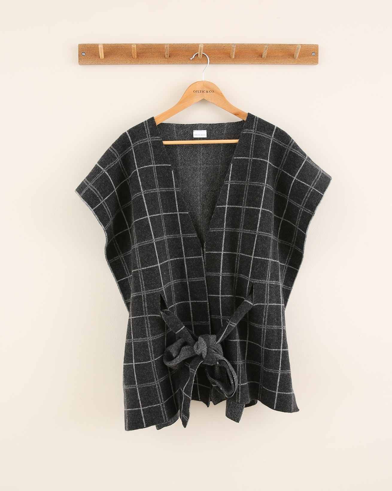 Check Belted Poncho Shawl - One Size - Charcoal/Silver - 1782