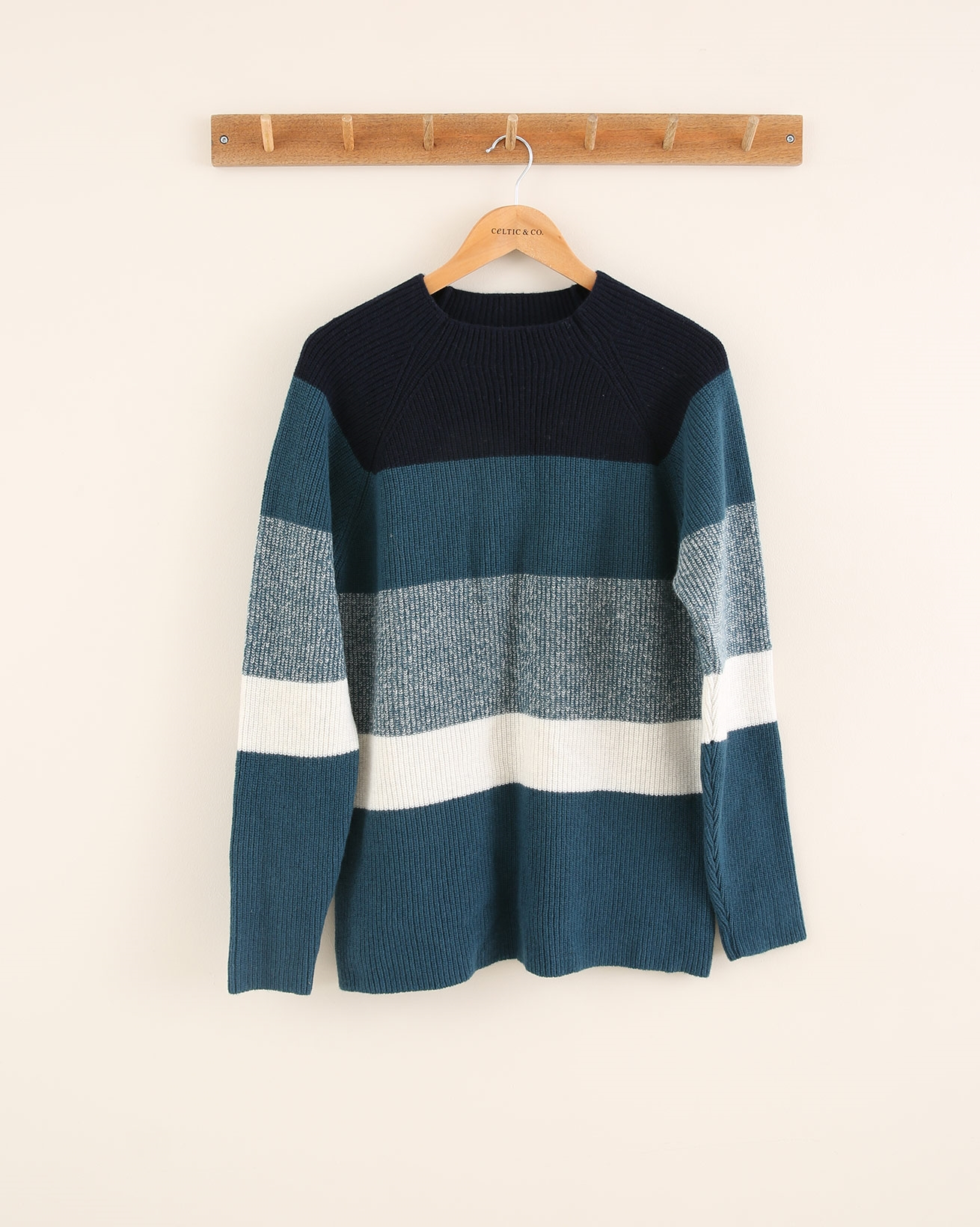 Colourblock Funnel Neck Jumper - Size Small - Icelandic Blue Mix - 1785