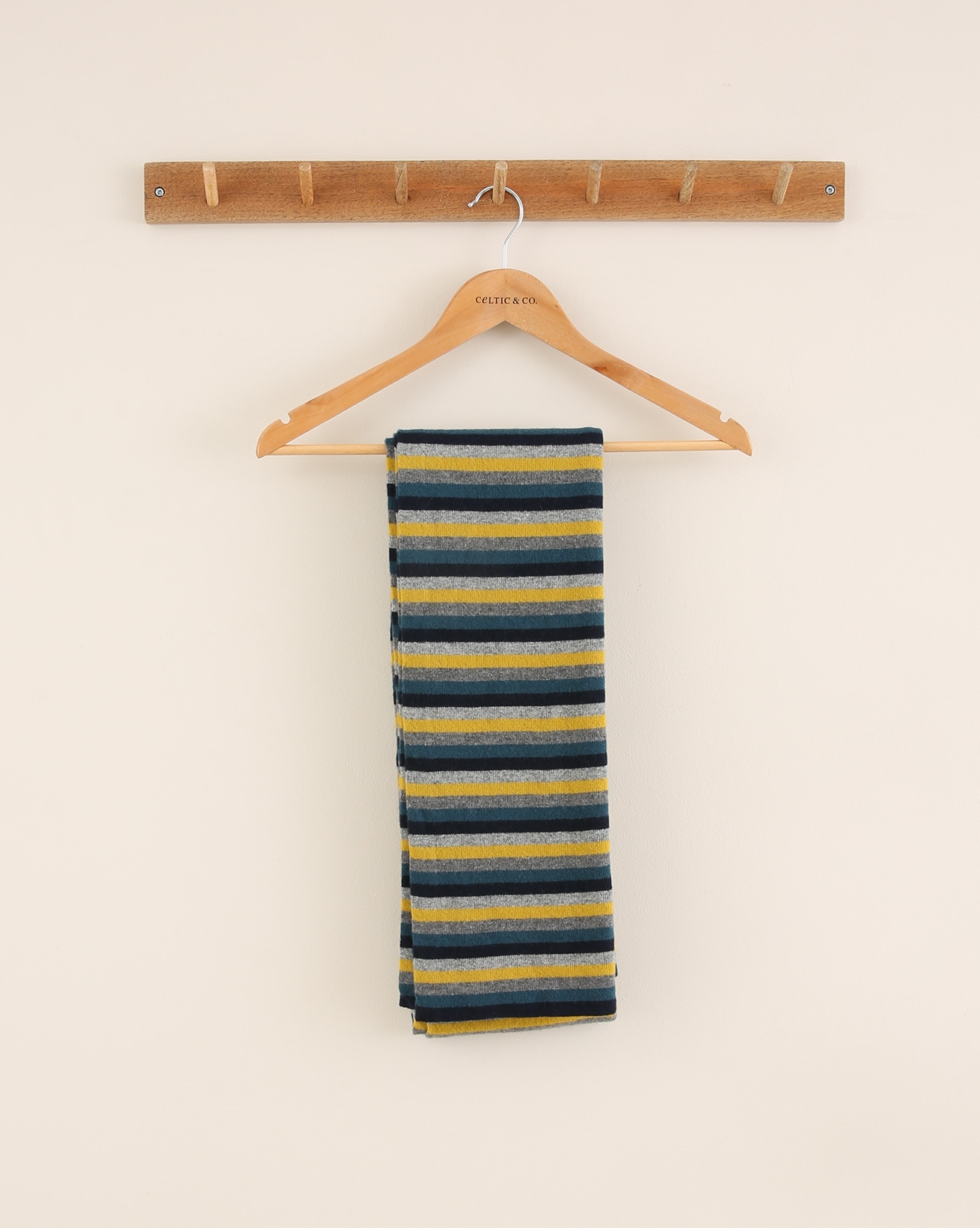 Striped lambswool scarf - One Size - Icelandic Blue Mix - 1788