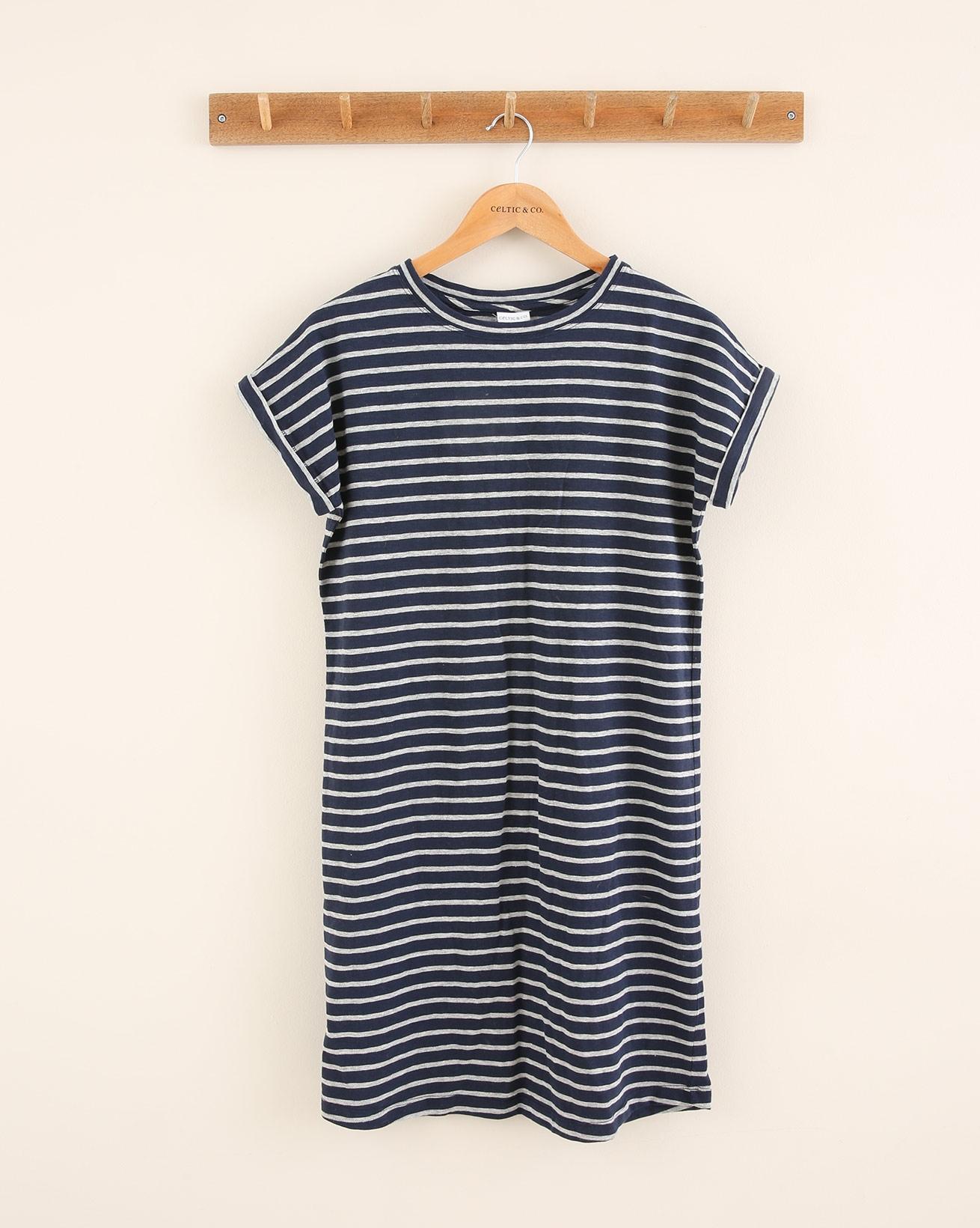 Cotton Tshirt Dress - Size Small - Navy Grey Stripe - 1791