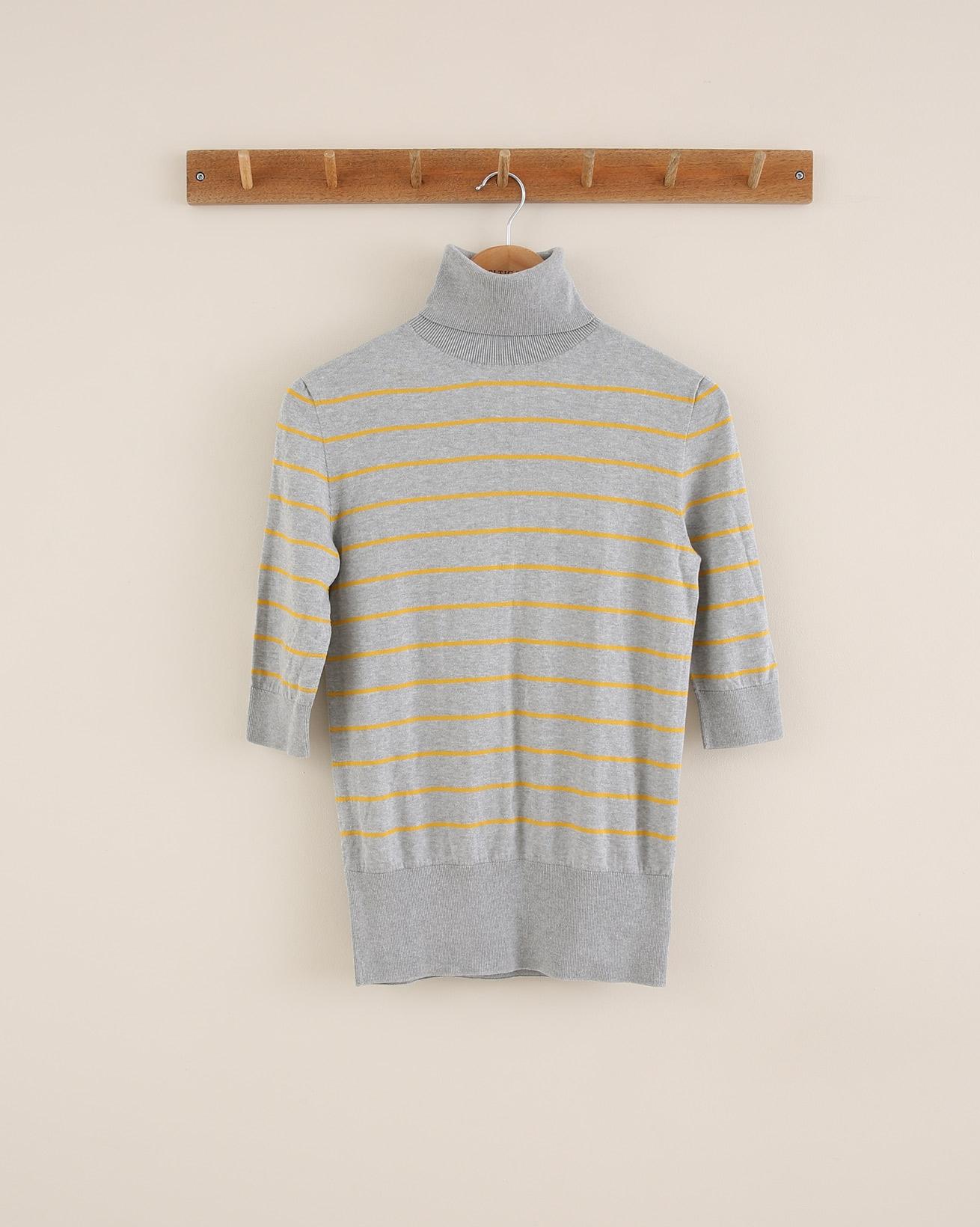 Cotton Roll Neck - Size Small - Grey/Tumeric - 1792