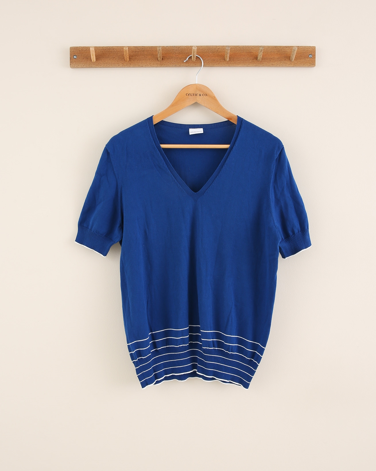 Cotton Short Sleeve Tee - Size Small -  Cobalt/White - 1798