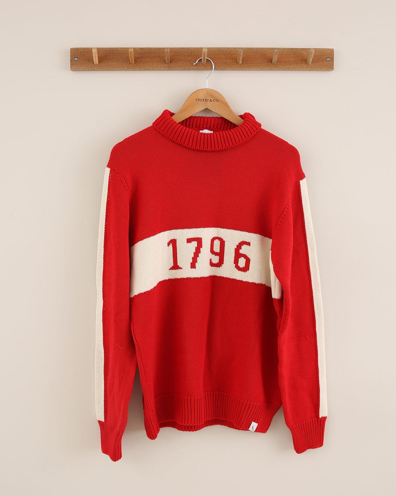 Mens Retro 1796 Jumper  Size Large - Red/Cream - 1800