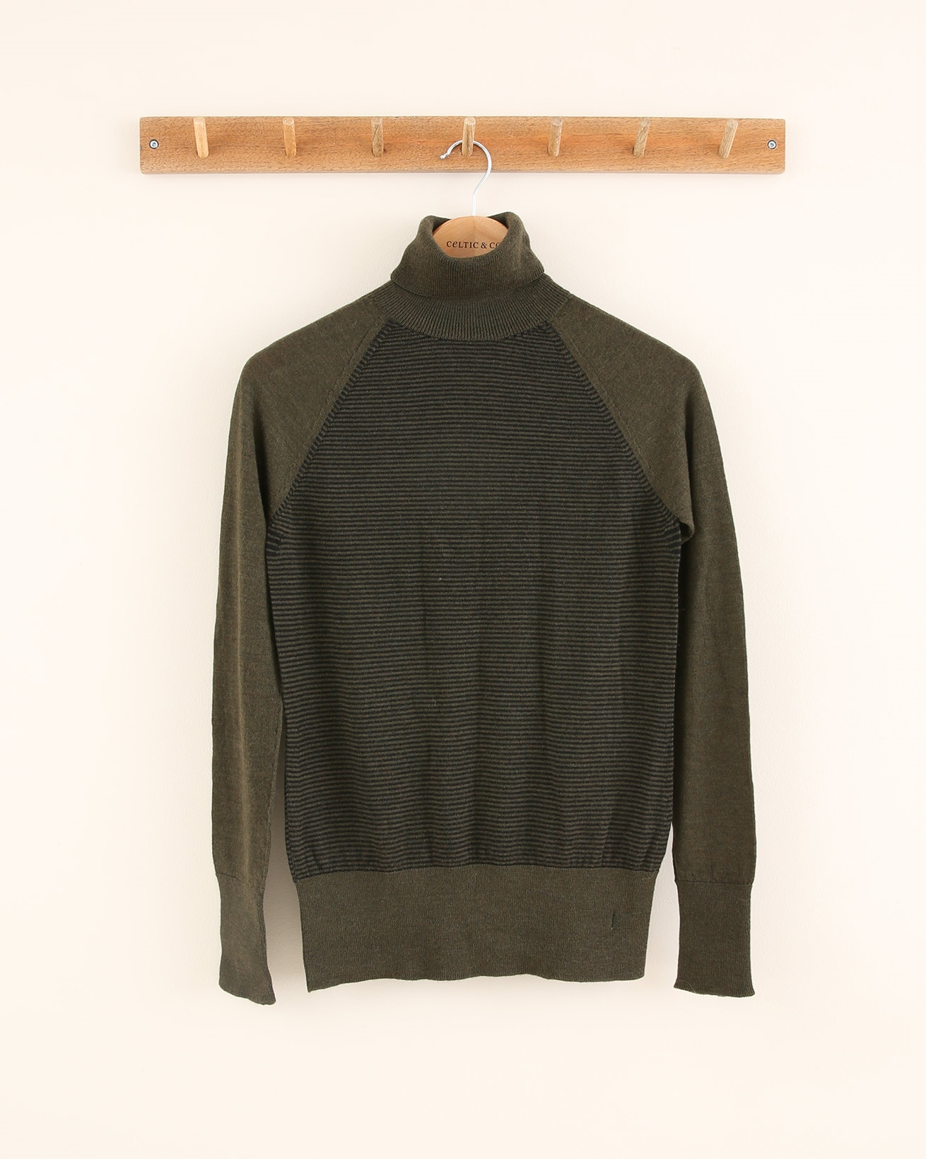 Merino Roll Neck - Size Small - Olive Charcoal Stripe - 1801