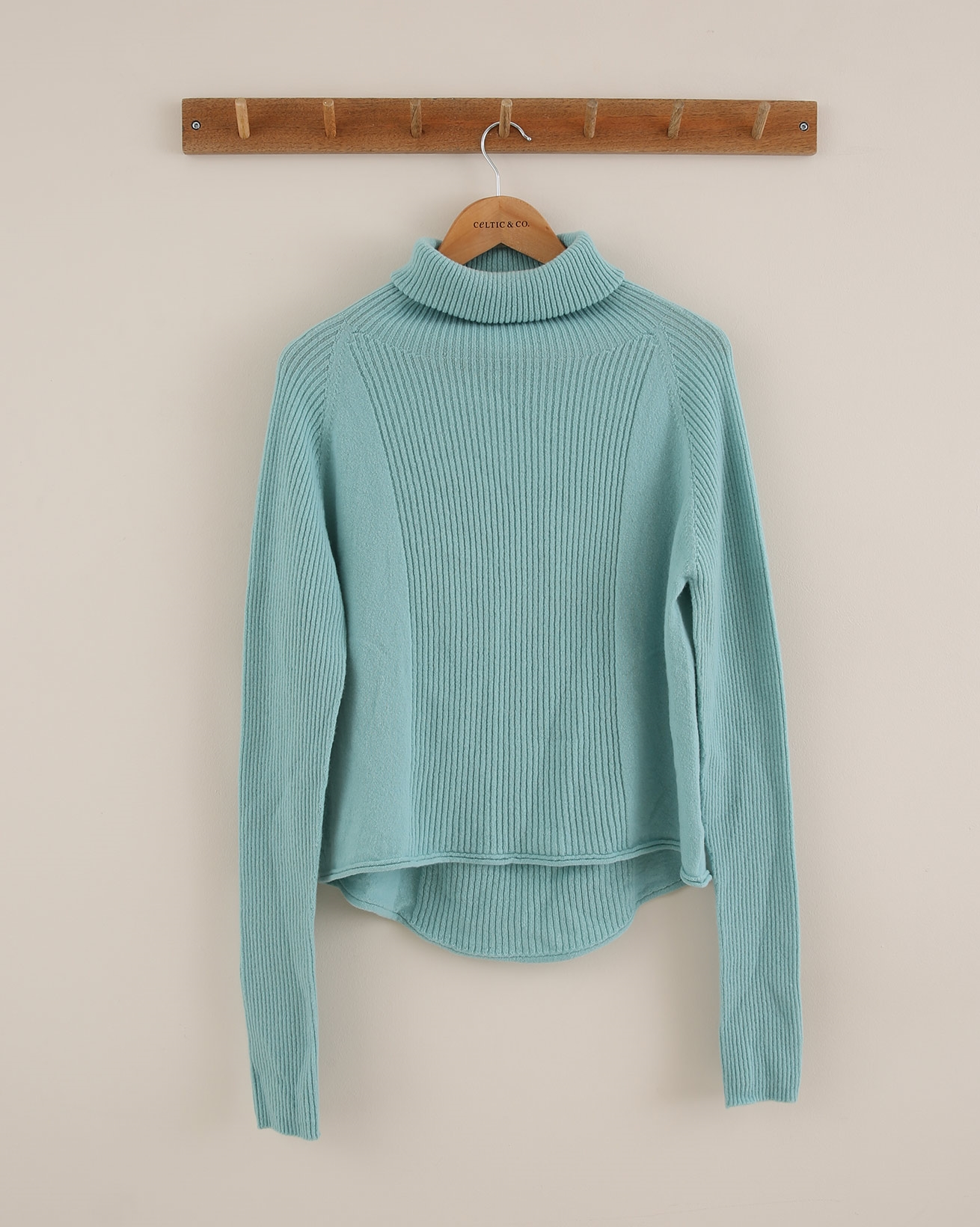 Ribbed Geelong Roll Neck - Size Small - Sky Blue - 1803