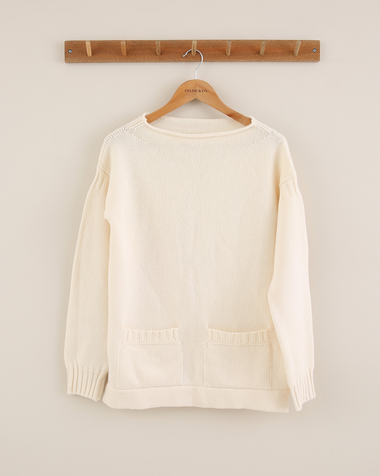 Pocket Detail Funnel Neck Jumper - Size Small - Ivory - 1806