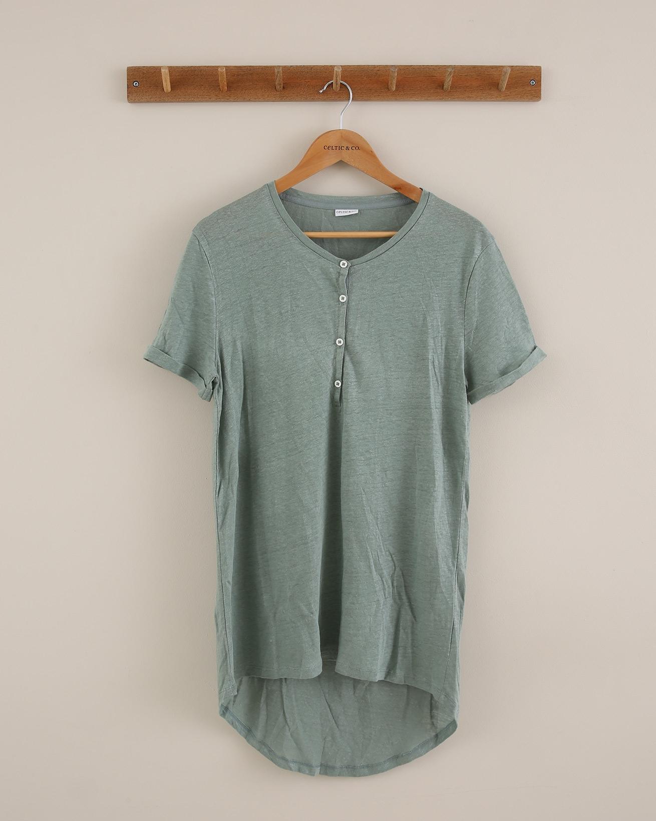 Linen Short Sleeve Henley - Size 14 - Sage Green - 1808