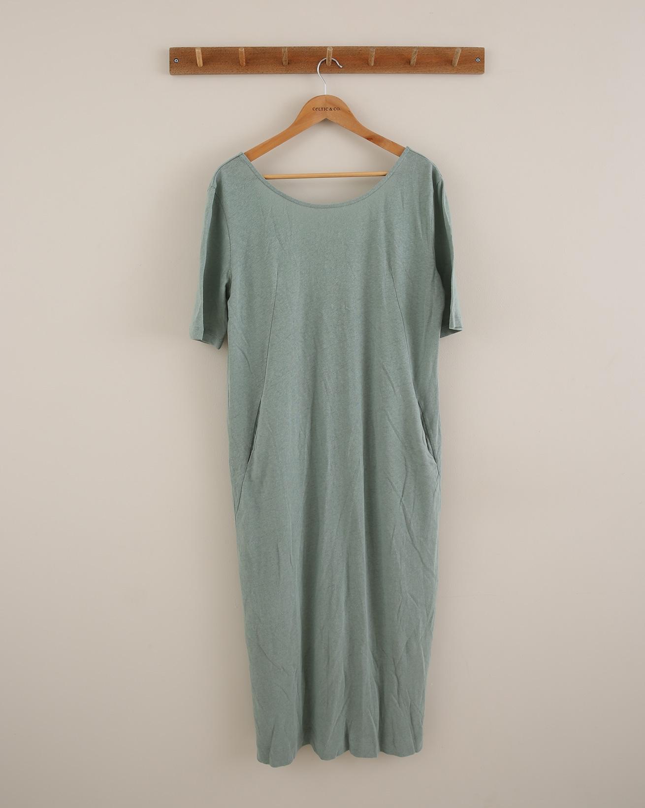 Linen Button Back Dress - Size 14 - Sage Green - 1809