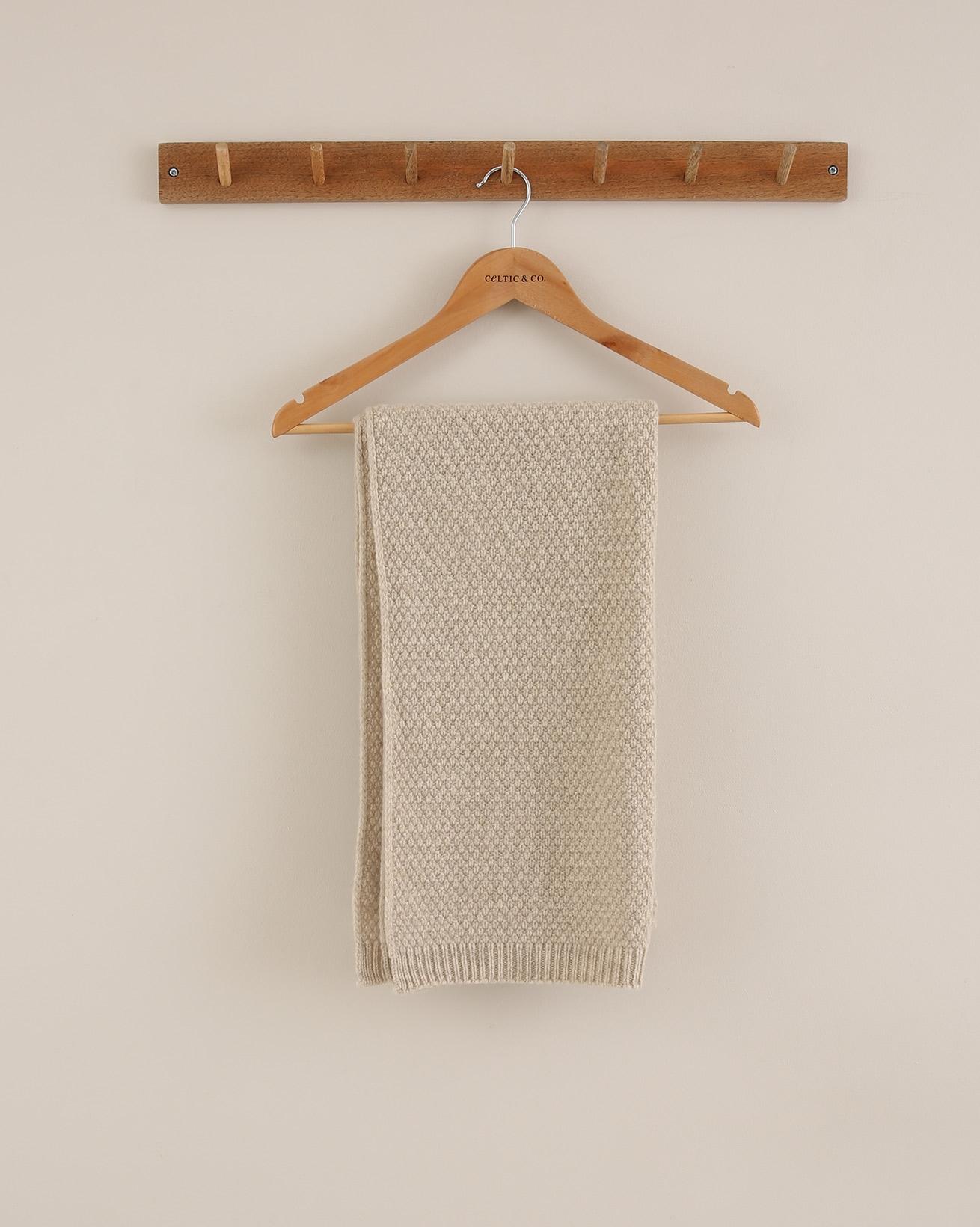 Moss Stitch Knit Scarf - One Size - Oatmeal - 1790