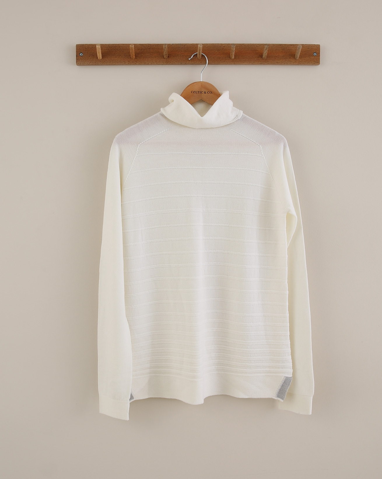 Roll Neck Rib Detail Jumper - Size Small - Ivory - 1813