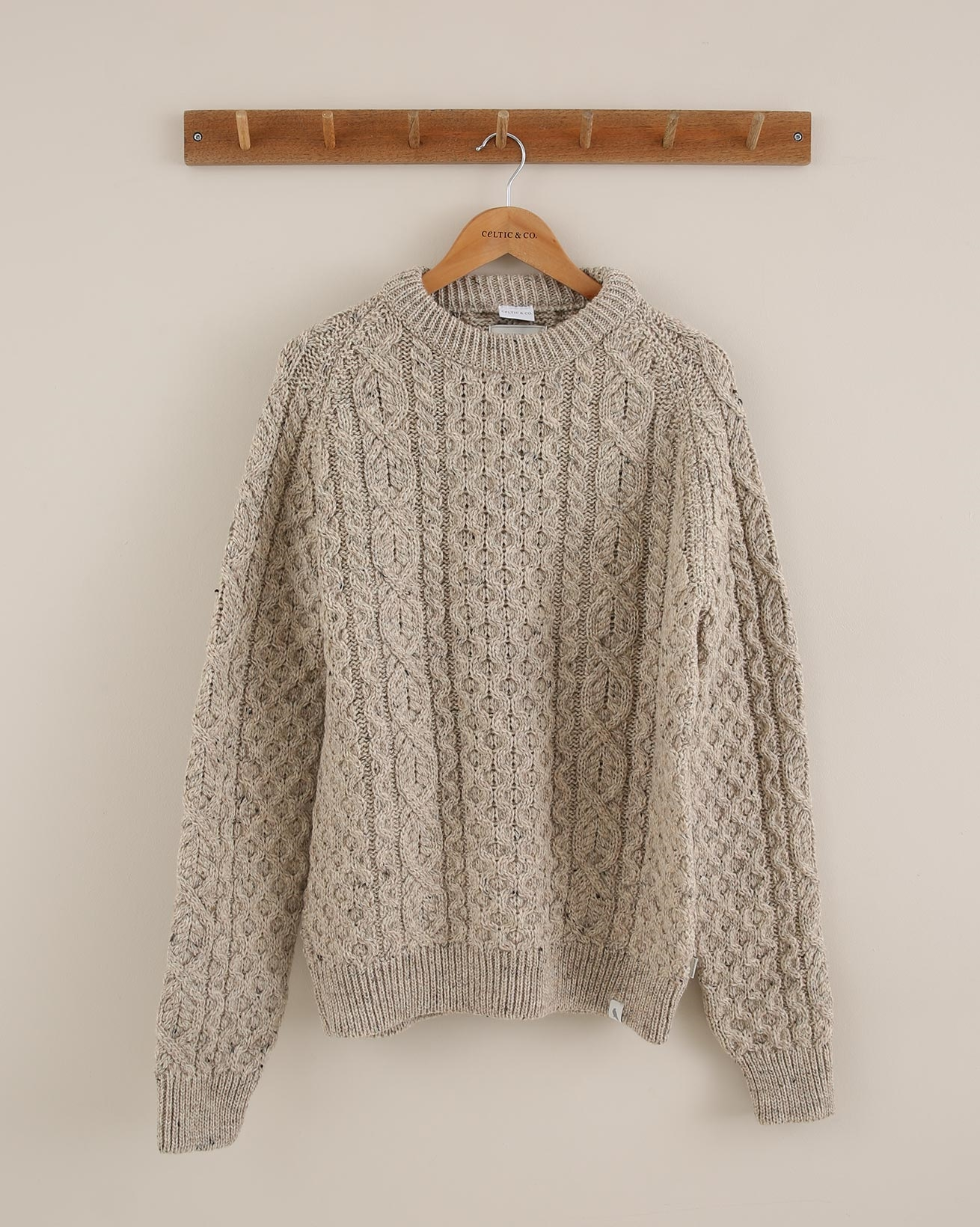 Mens Chunky Cable Jumper - Size Large - Oatmeal Fleck - 1815