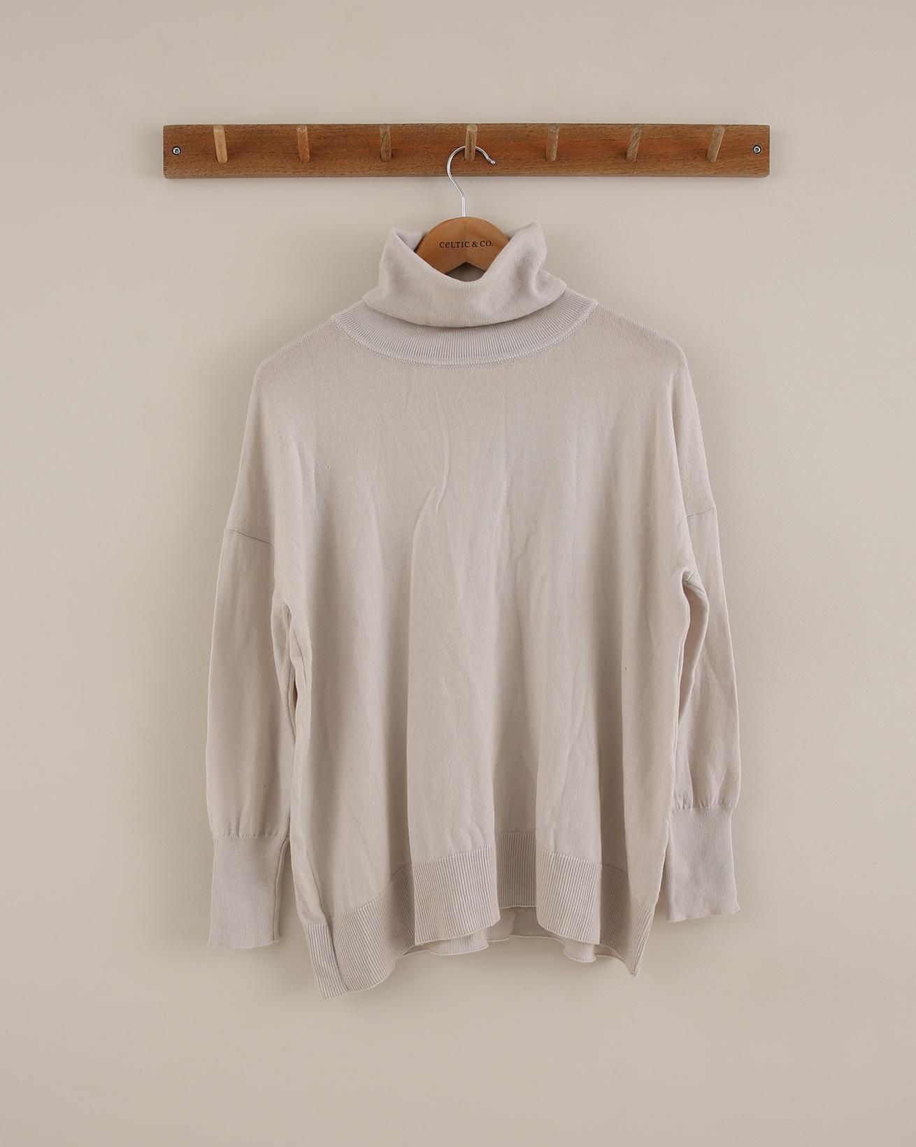 Slouchy fine knit roll neck - Extra Small - Oatmeal - 1816