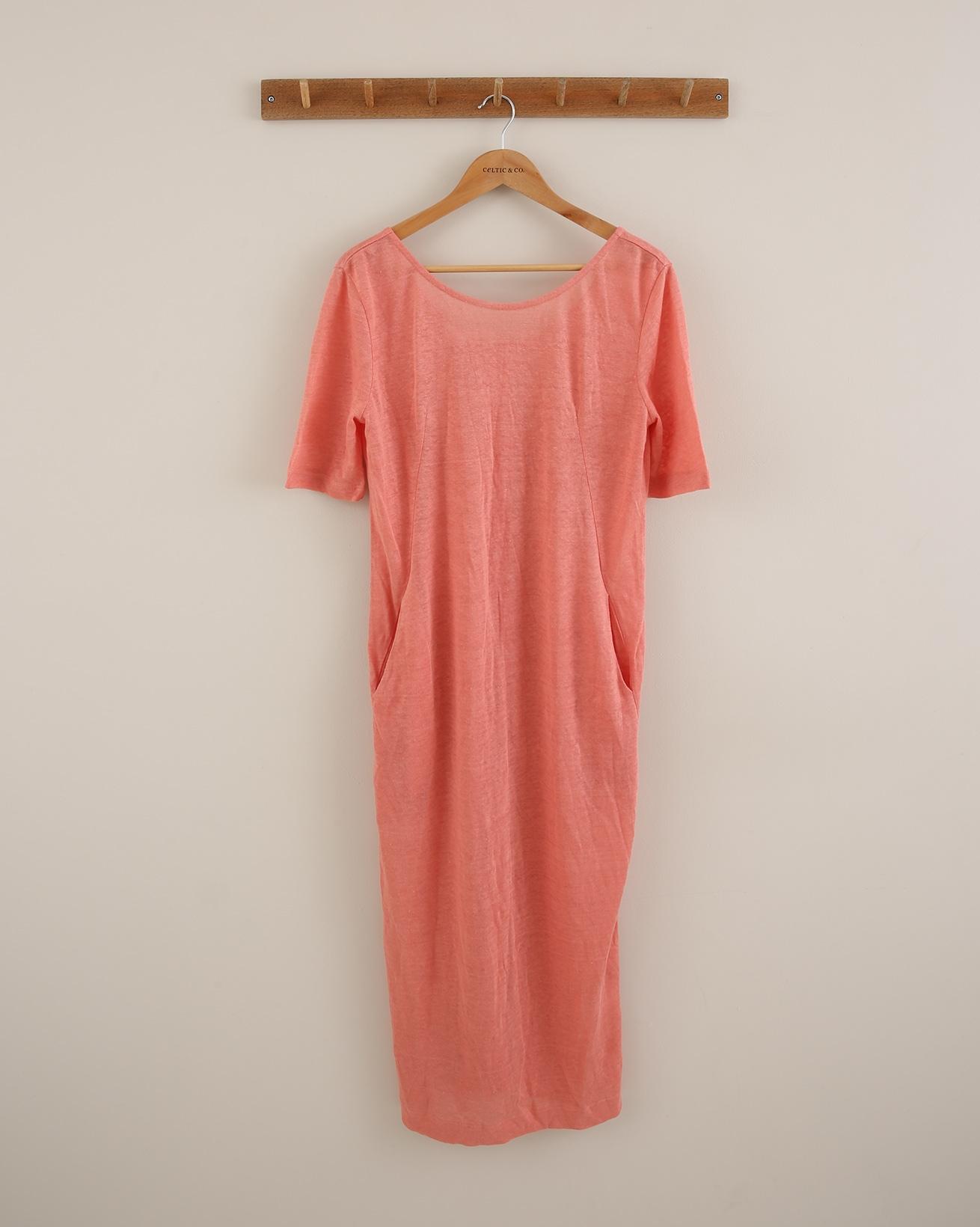Linen Button Back Dress - Size 14 - Coral - 1817