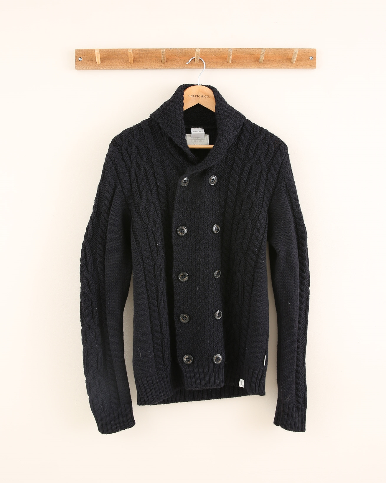Double breasted button cable cardigan - Size Medium - Dark Navy - 1826
