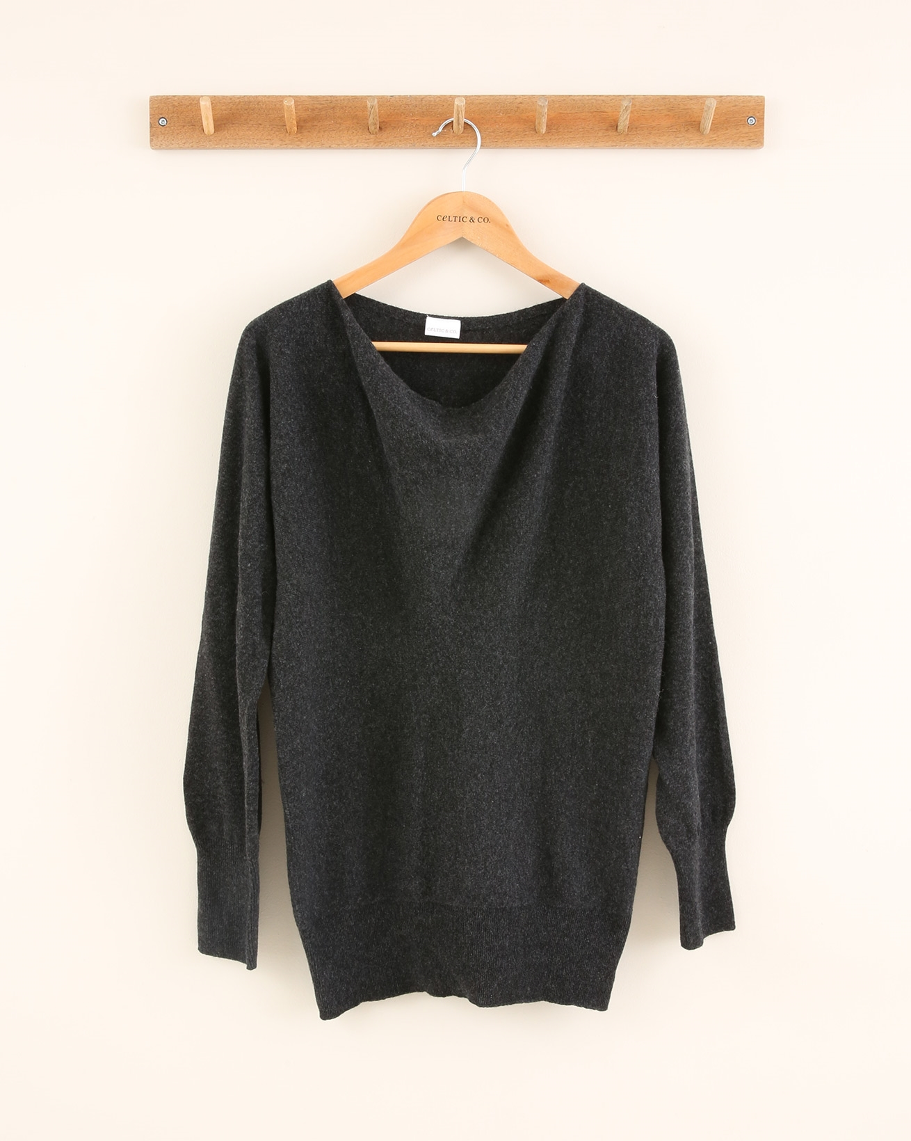 Soft Cowl Jumper - Size Small - Charcoal - 1828