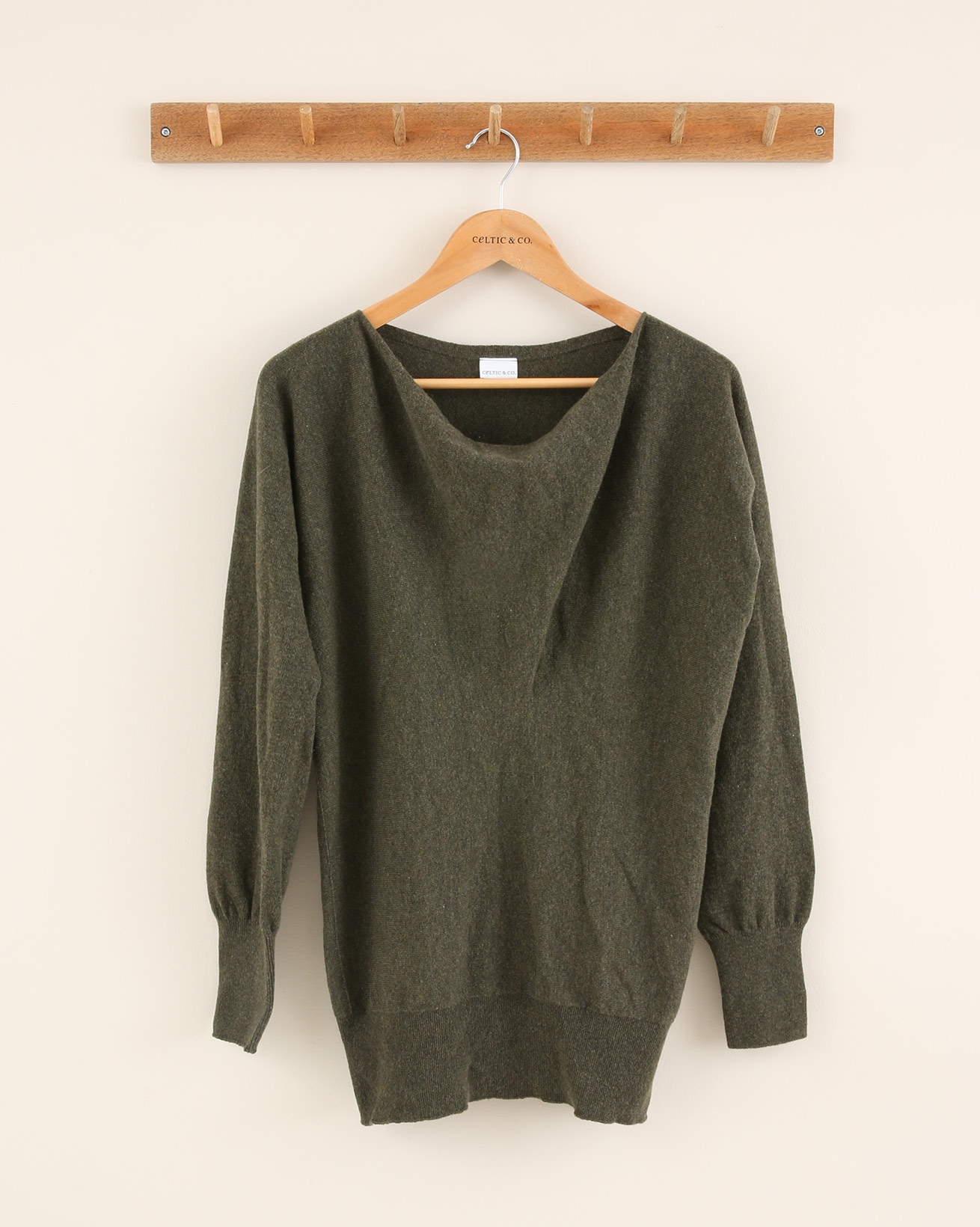 Soft Cowl Jumper - Small - Olive - 1829