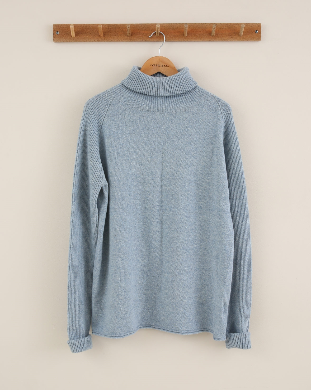 Ribbed Geelong Roll Neck - Size Small - Sky Blue Marl - 1832