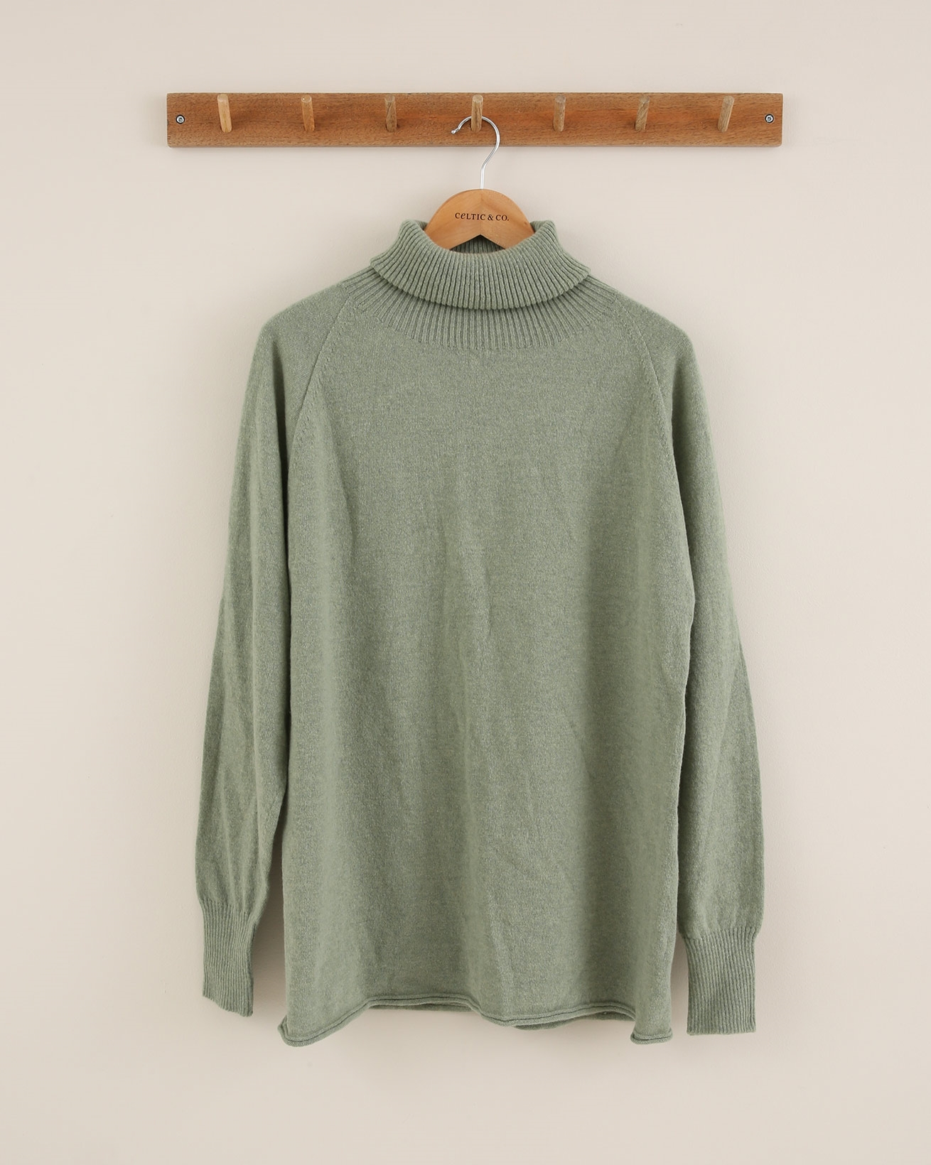 Ribbed Geelong Roll Neck - Size Small - Sage - 1833