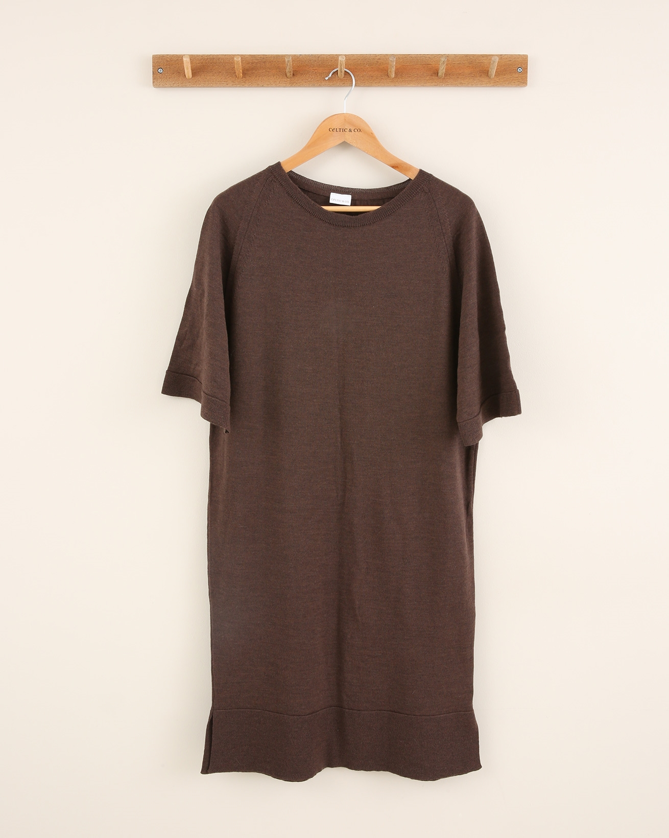 Slouchy Merino Crew Neck Dress - Size Small - Tanners Brown - 1834