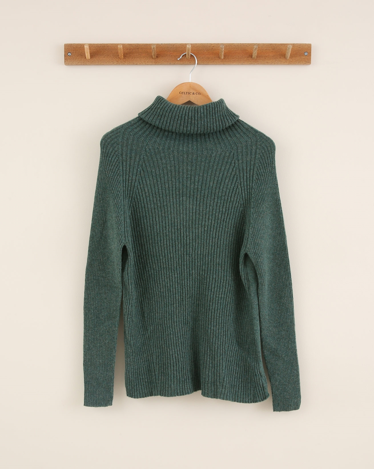 Ribbed Geelong Roll Neck - Size Small - Pine Green - 1840