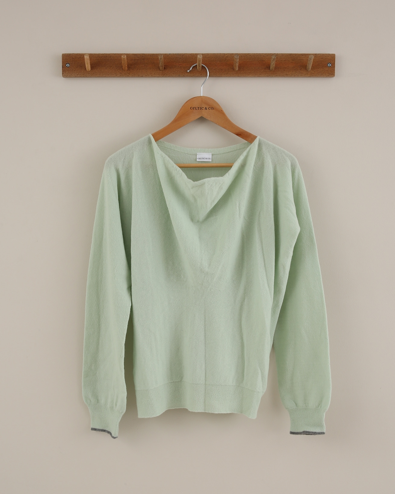 Soft Cowl Jumper - Size Small - Mint/Grey Tipped - 1842