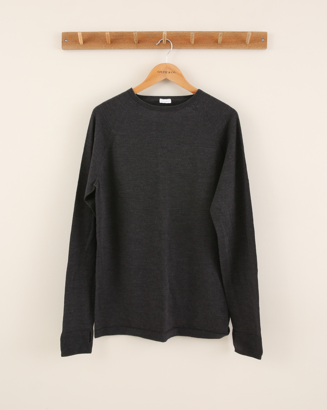 Trim Detail Merino Crew Neck - Size Large - Charcoal - 1843