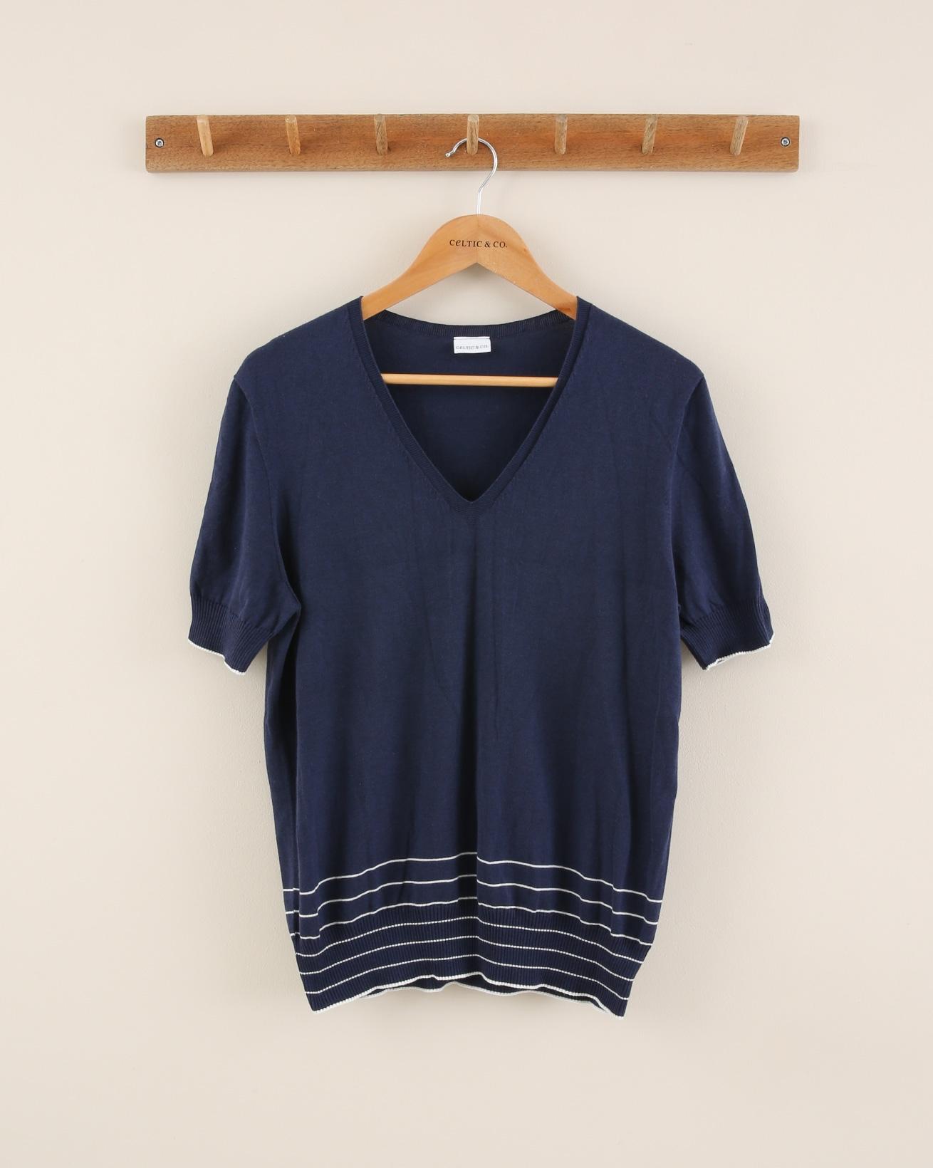 Cotton short sleeve tee - Size Small - Indigo / Pearl - 1845