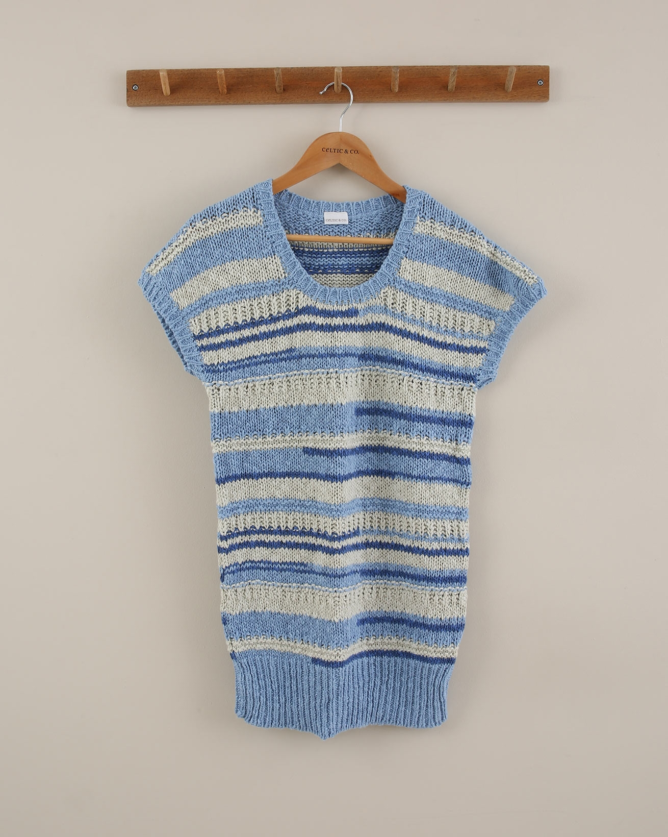 Sleeveless Knitted Tunic - Size Small - Blue/Grey Stripe - 1858