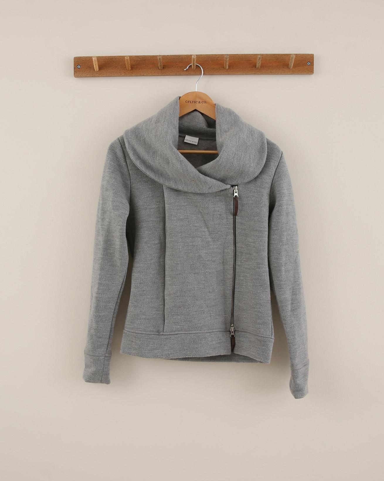 Asymmetric Wide Collar Hoodie - Size Small - Grey - 1861