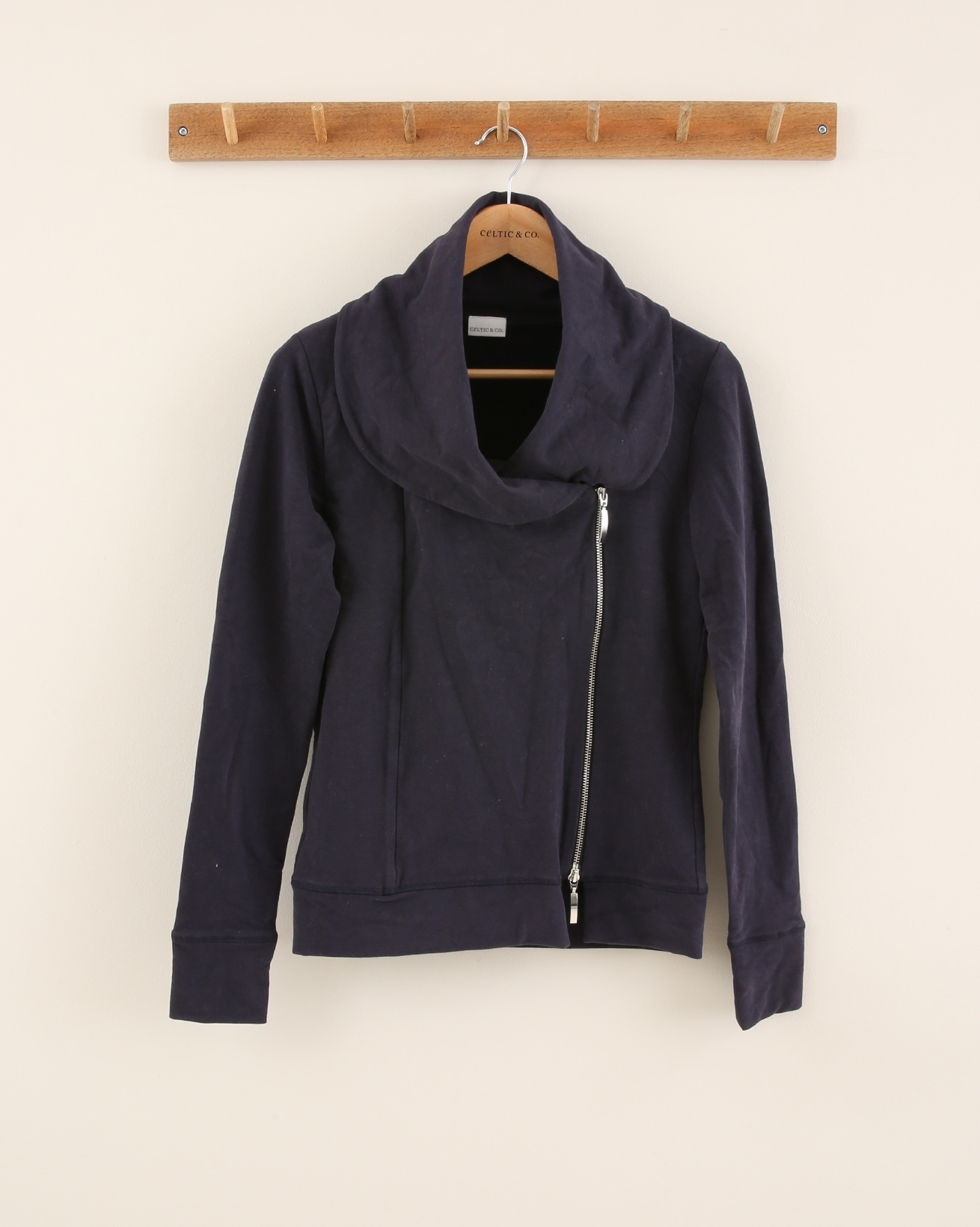 Asymmetric Wide Collar Hoodie - Size Small - Navy - 1862