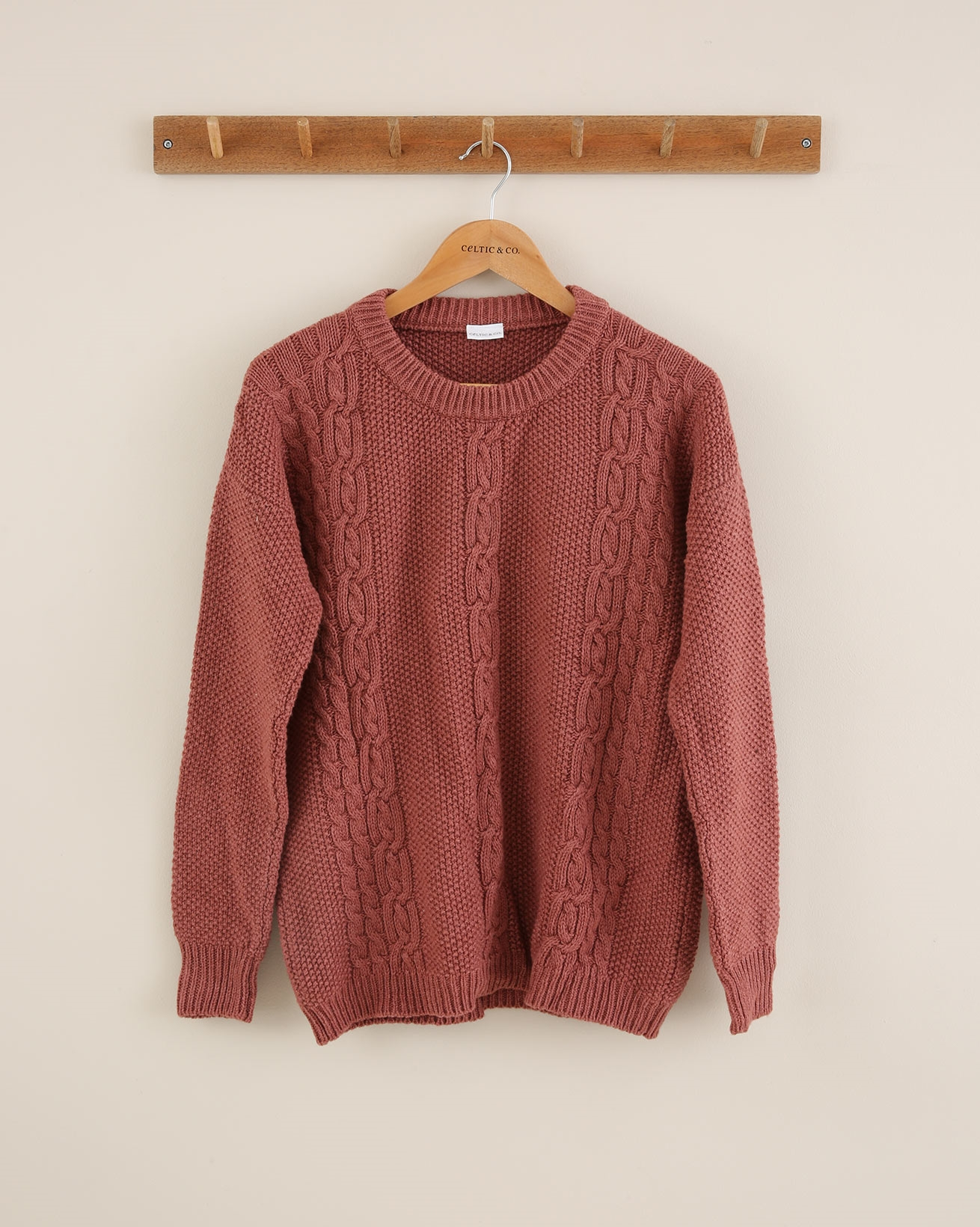Cable Crew Neck Jumper - Size Small - Antique Rose - 1868
