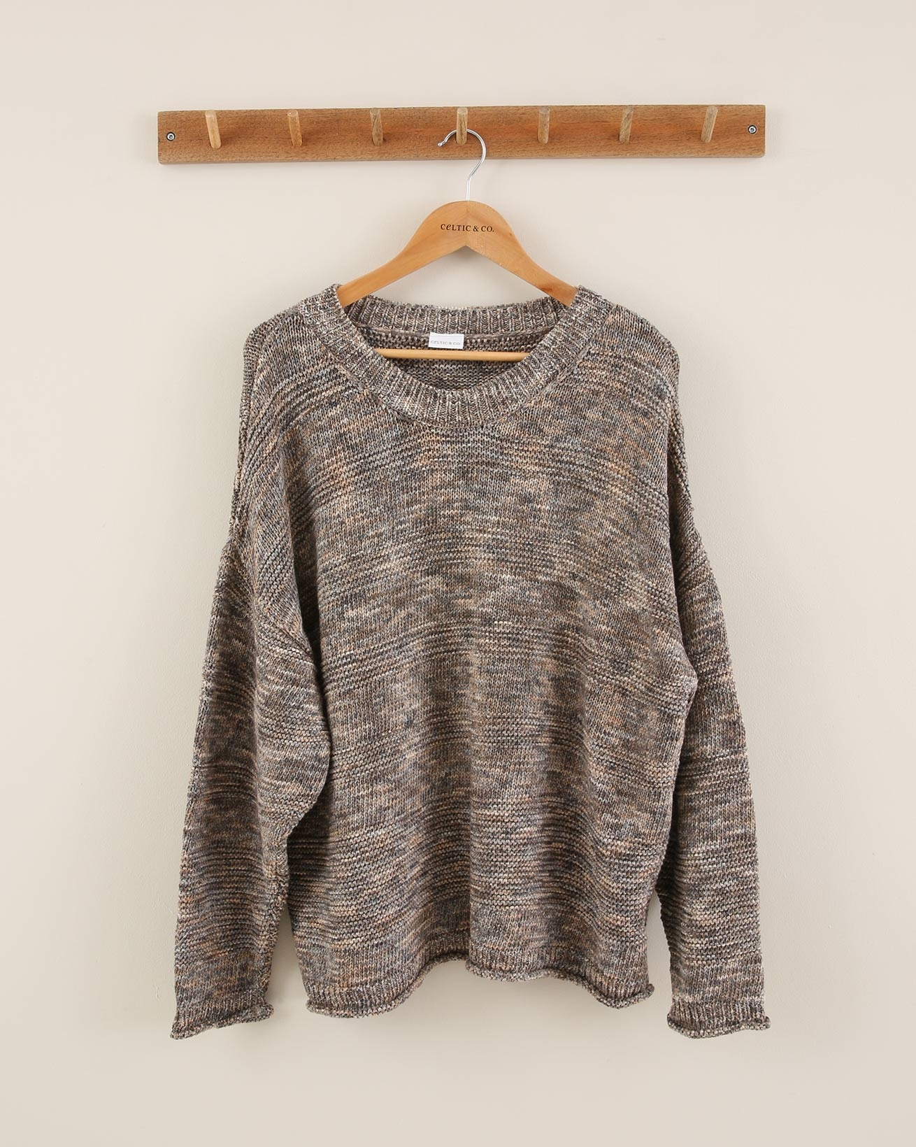 Space Dye Cotton Jumper - Size Small - Brown Mix - 1871