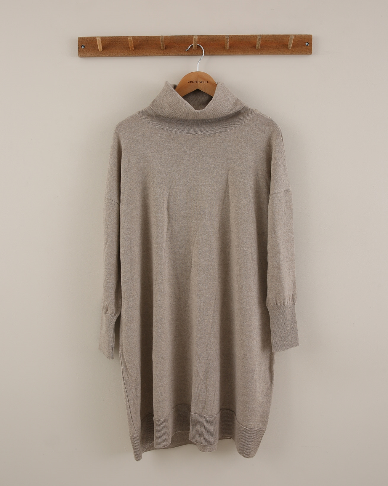 Slouchy Fine Knit Roll Neck Dress - Size Small - Mushroom - 1874