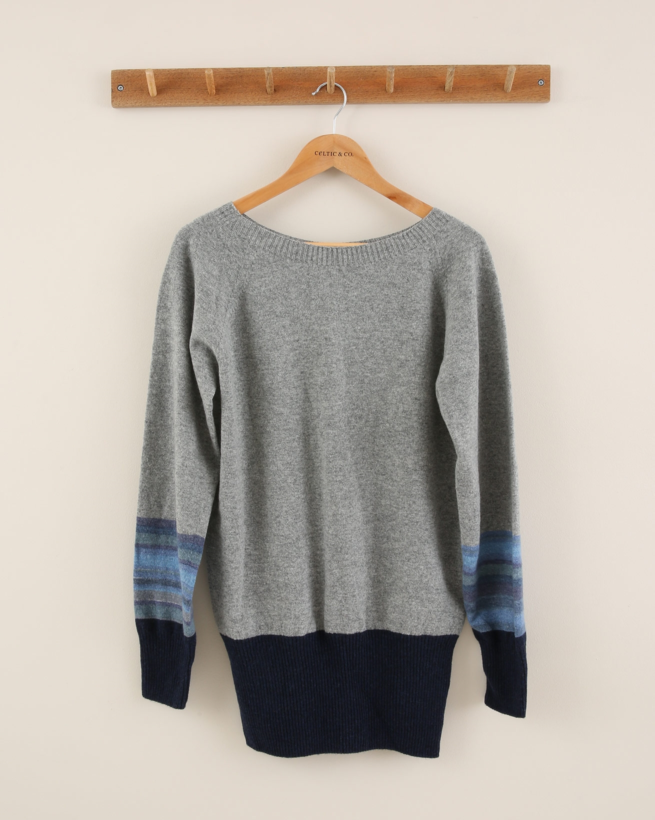 Supersoft Slouch Jumper - Size Small - Derby Grey / Blue Ombre - 1876