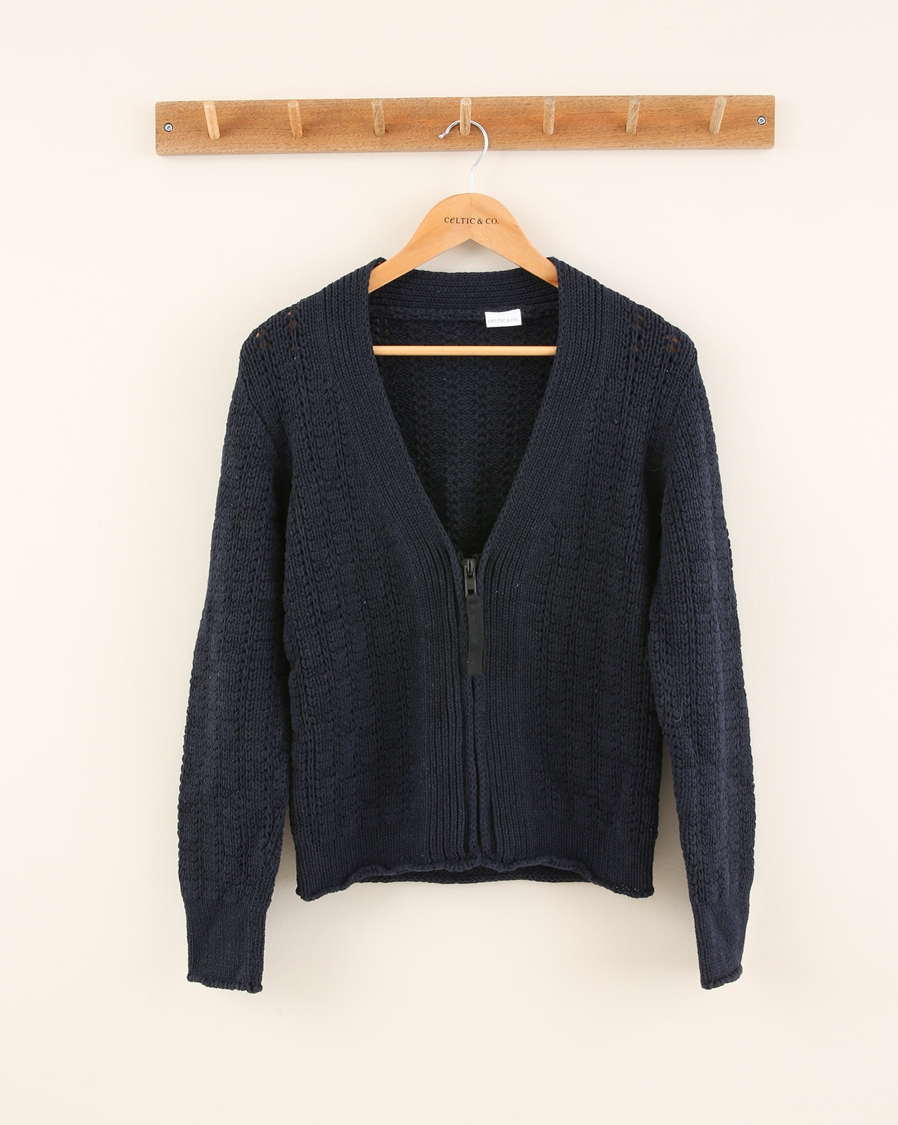 Zip Front Cotton Cable Cardigan - Size Small - Navy - 1879
