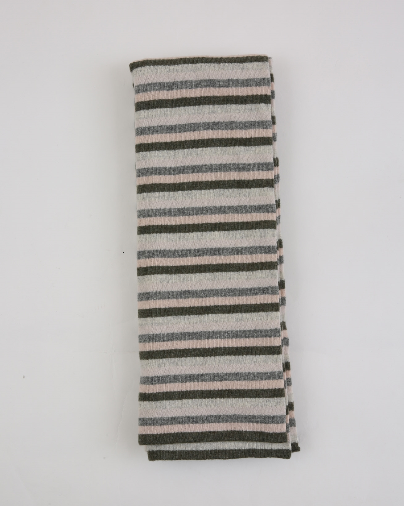 Lambswool Striped Scarf - One Size - Olive/Peony Stripe - 1880