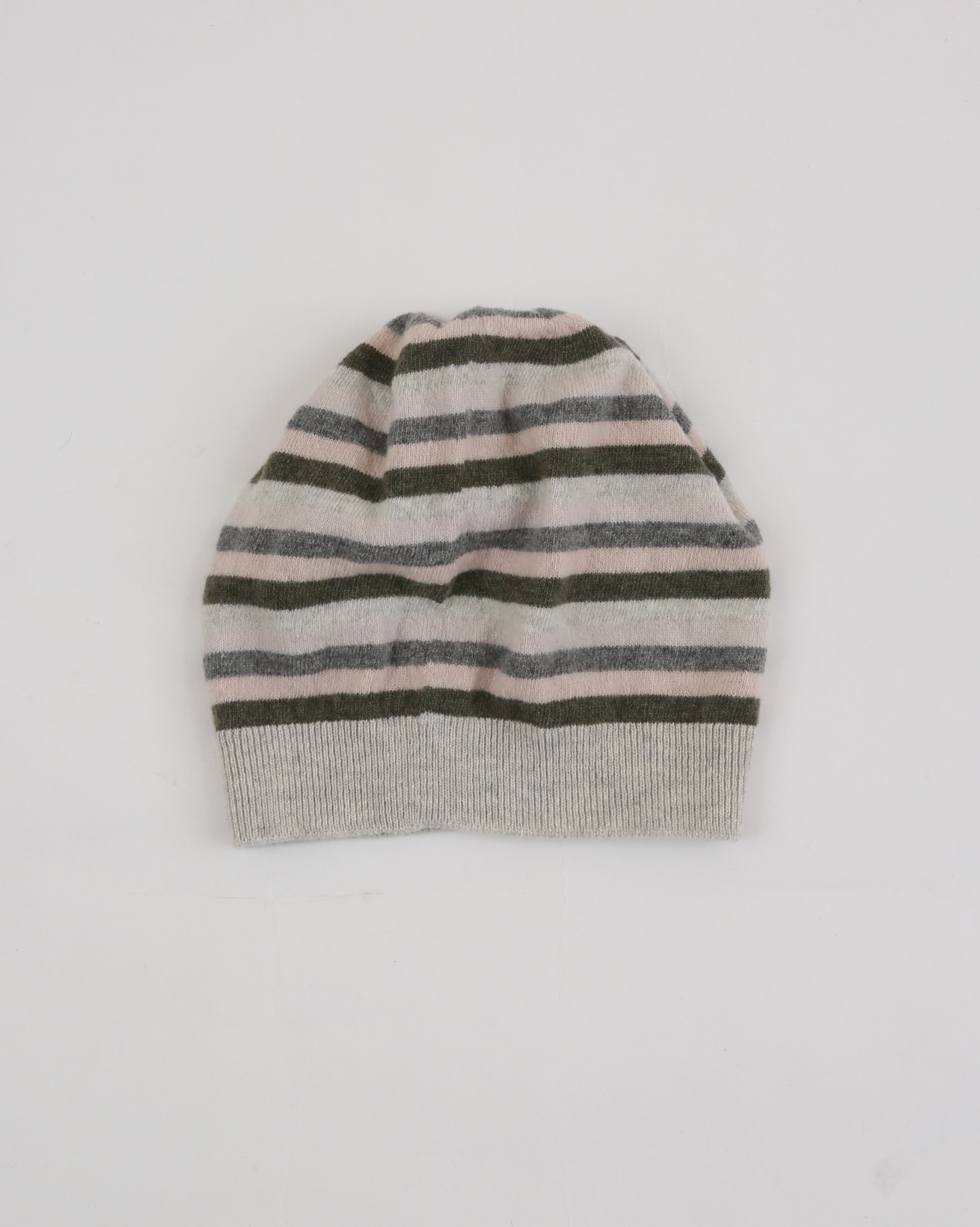 Lambswool Striped Hat - One Size - Olive/Peony Stripe - 1881