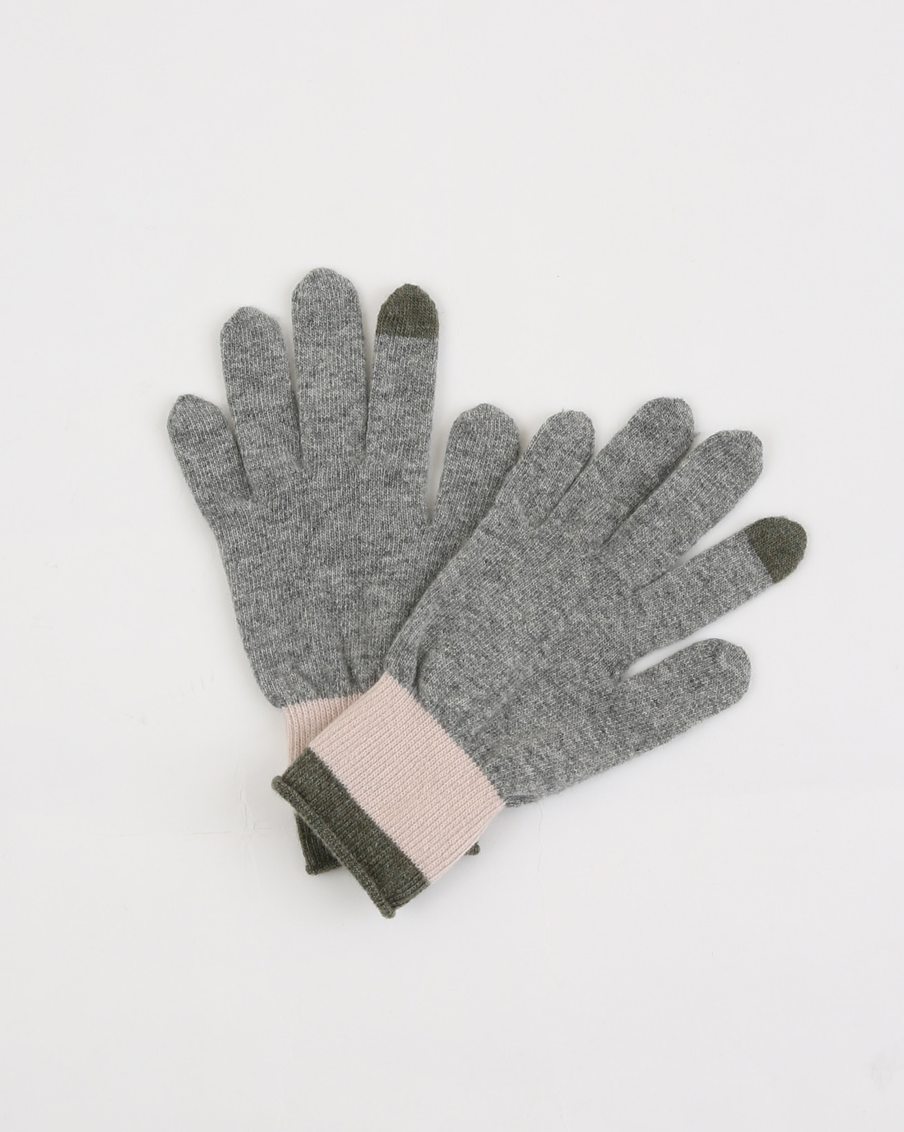 Lambswool Striped Gloves - One Size - Olive/Peony Stripe - 1883
