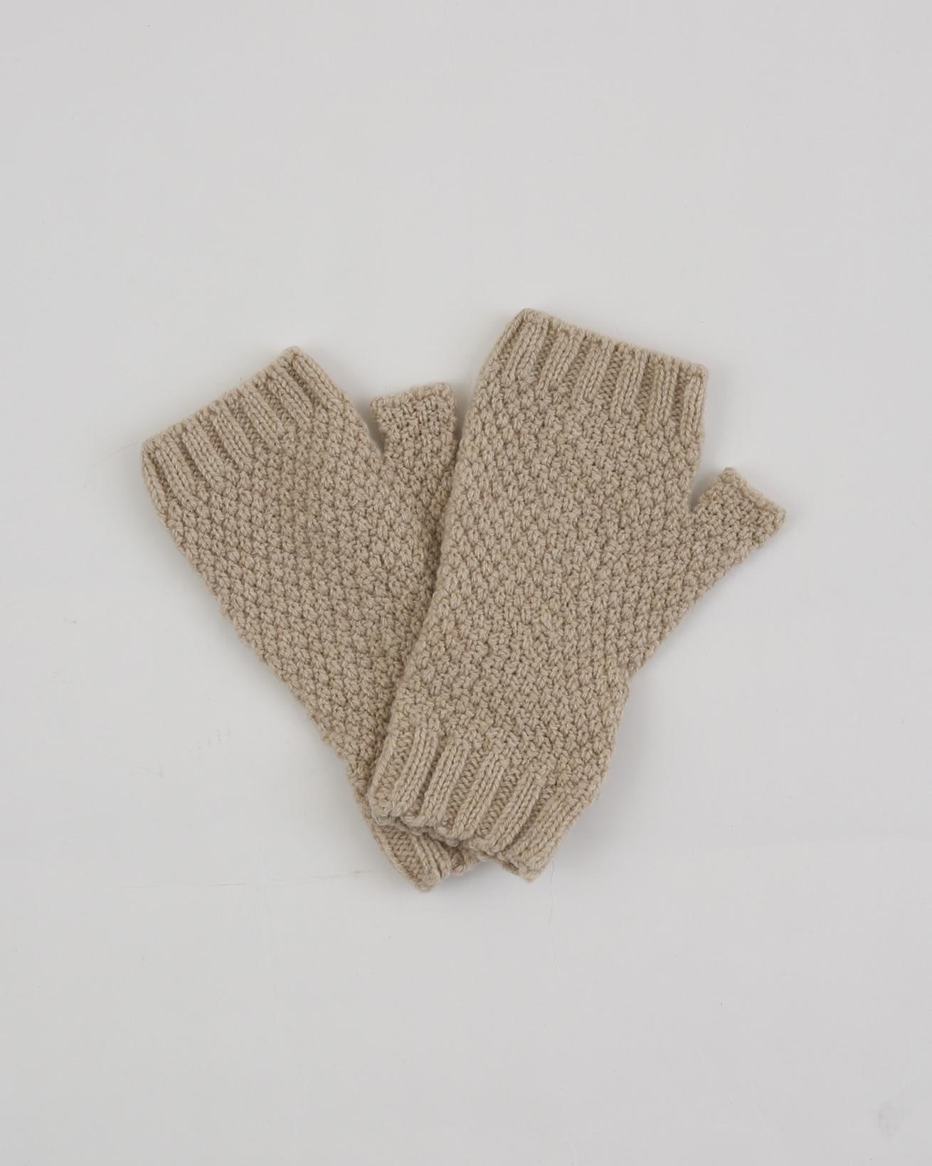 Lambswool Moss Stitch Fingerless Mitt - One Size - Oatmeal - 1893