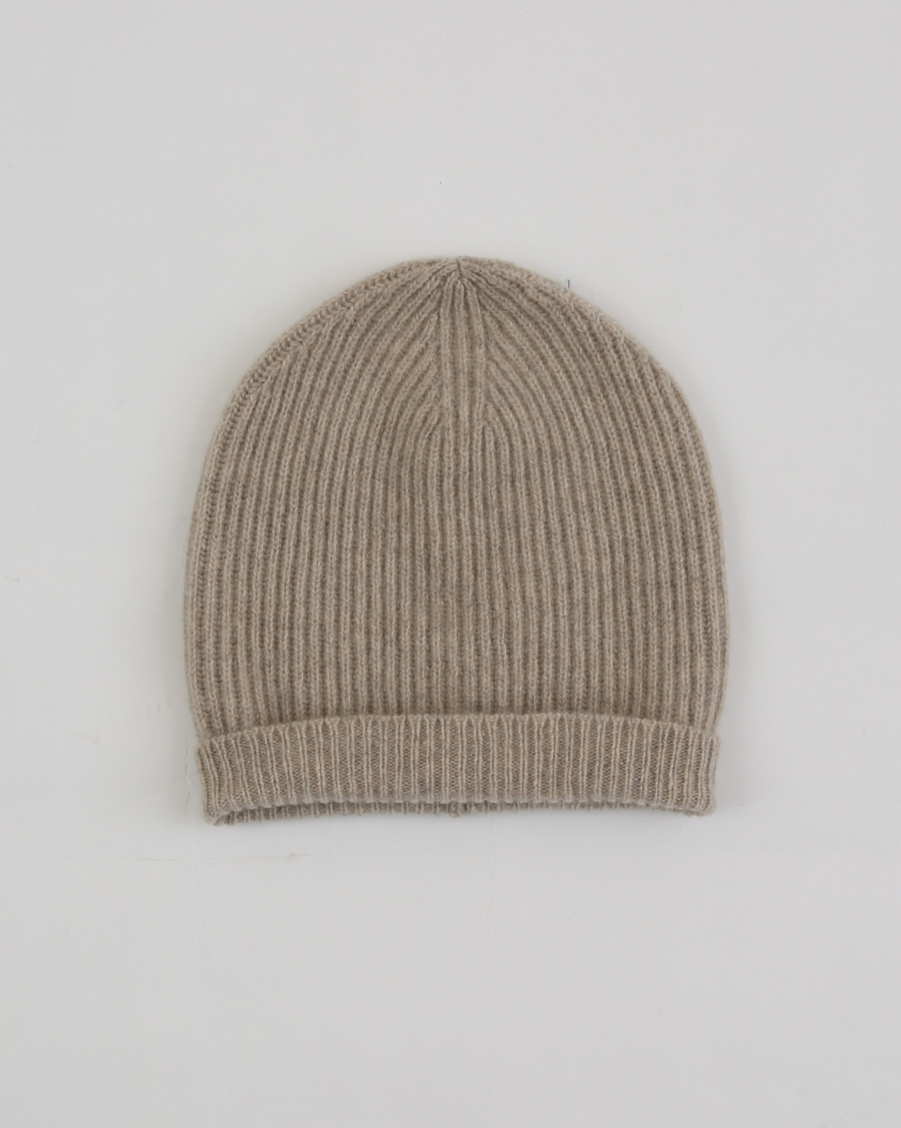 Recycled Cashmere Ribbed Beanie - One Size - Oatmeal - 1895